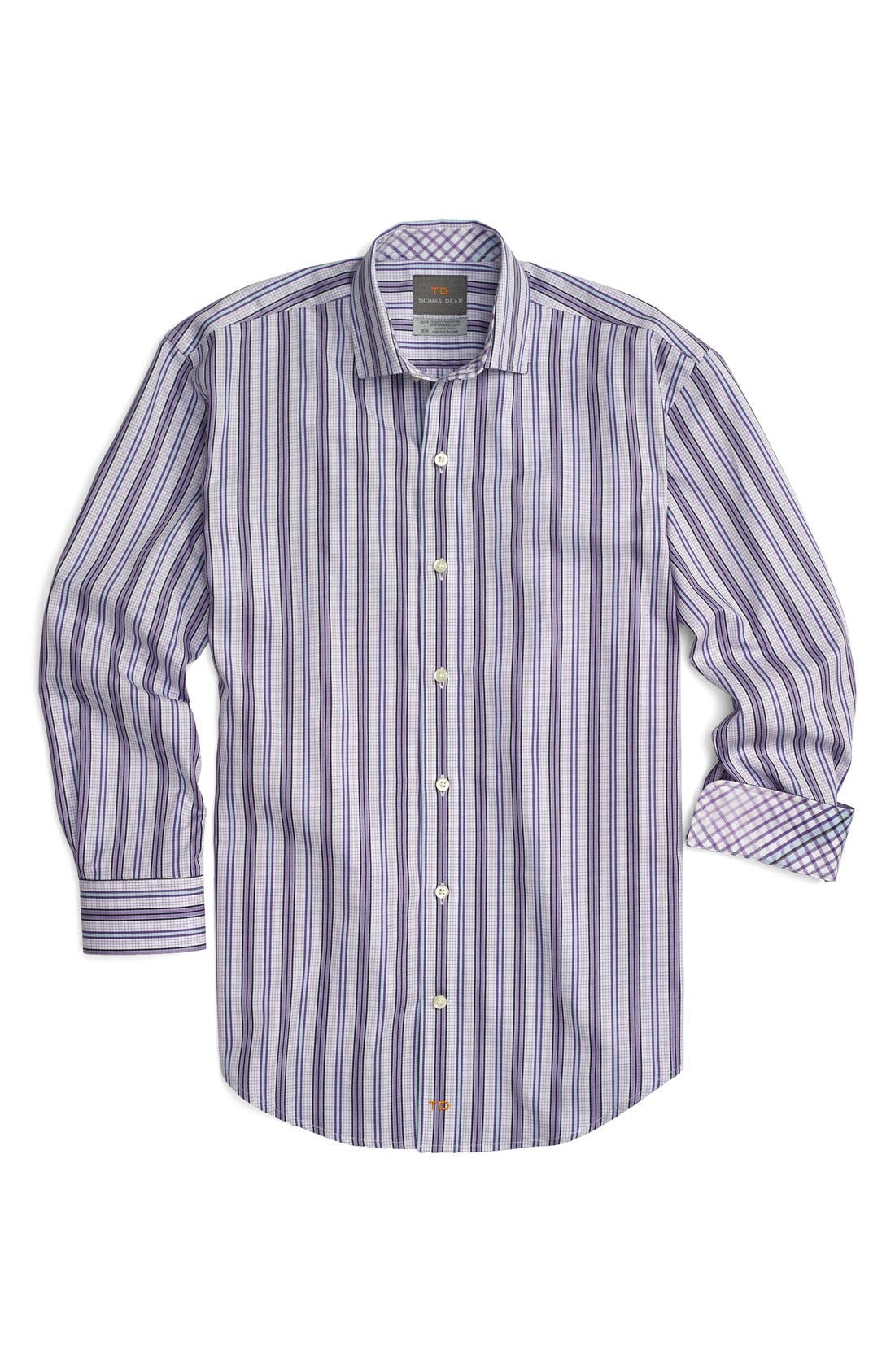 Main Image - Thomas Dean Stripe Cotton Poplin Dress Shirt (Little Boys)