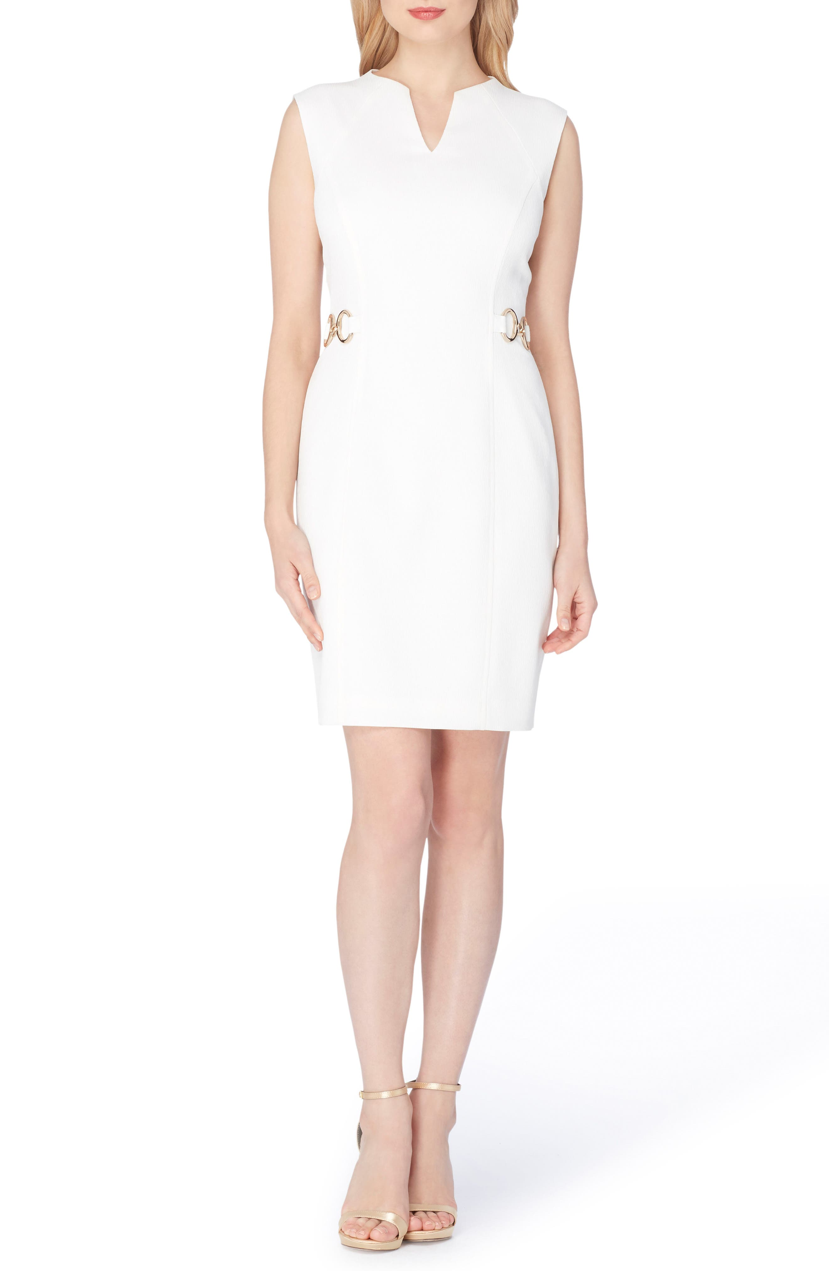 Tahari Textured Crepe Sheath Dress