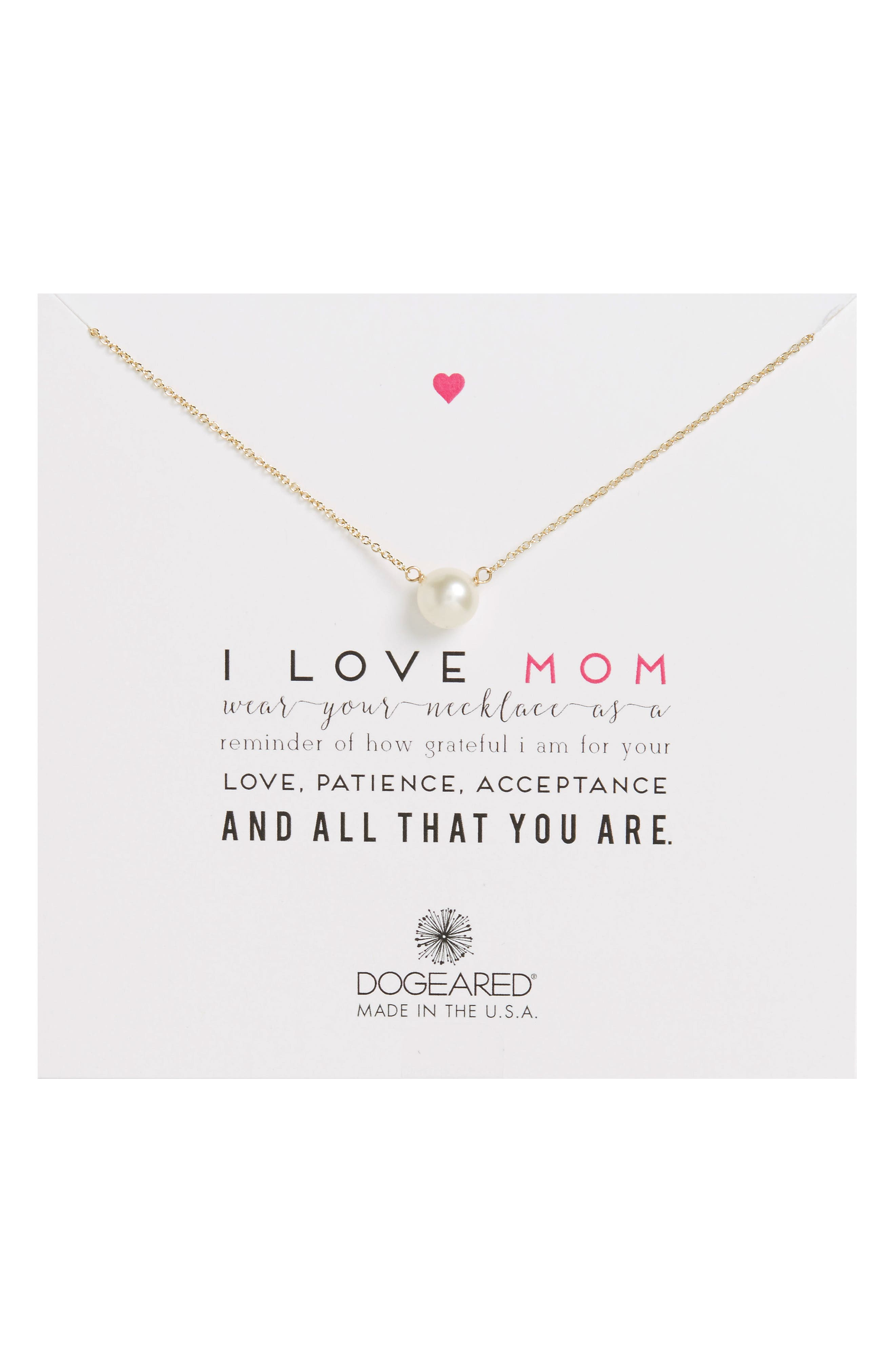 Main Image - Dogeared I Love Mom Pearl Pendant Necklace