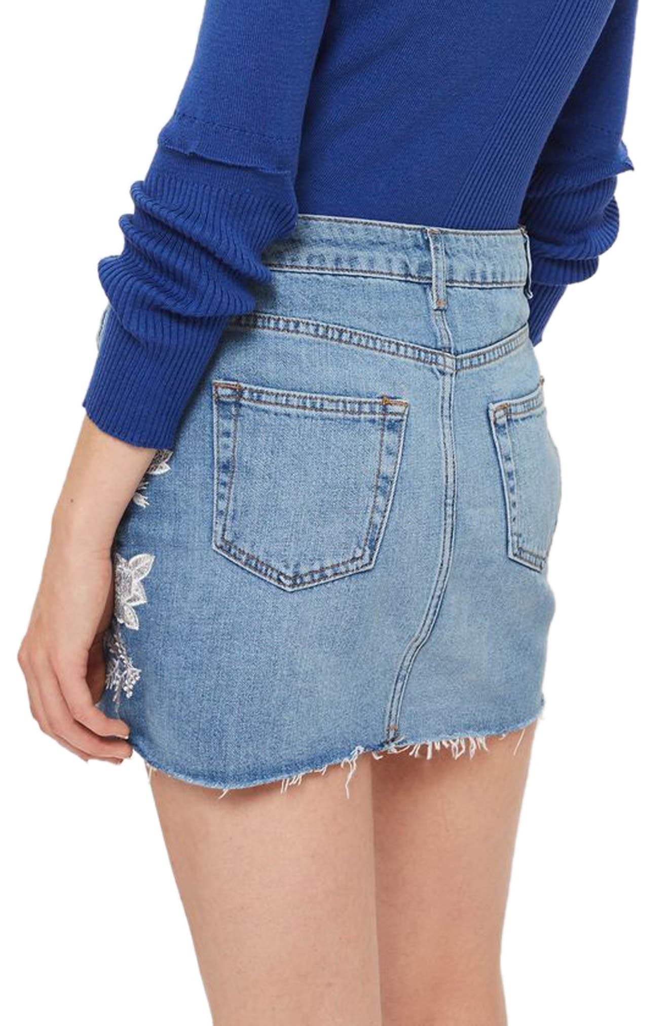 Alternate Image 2  - Topshop Embroidered Denim Miniskirt