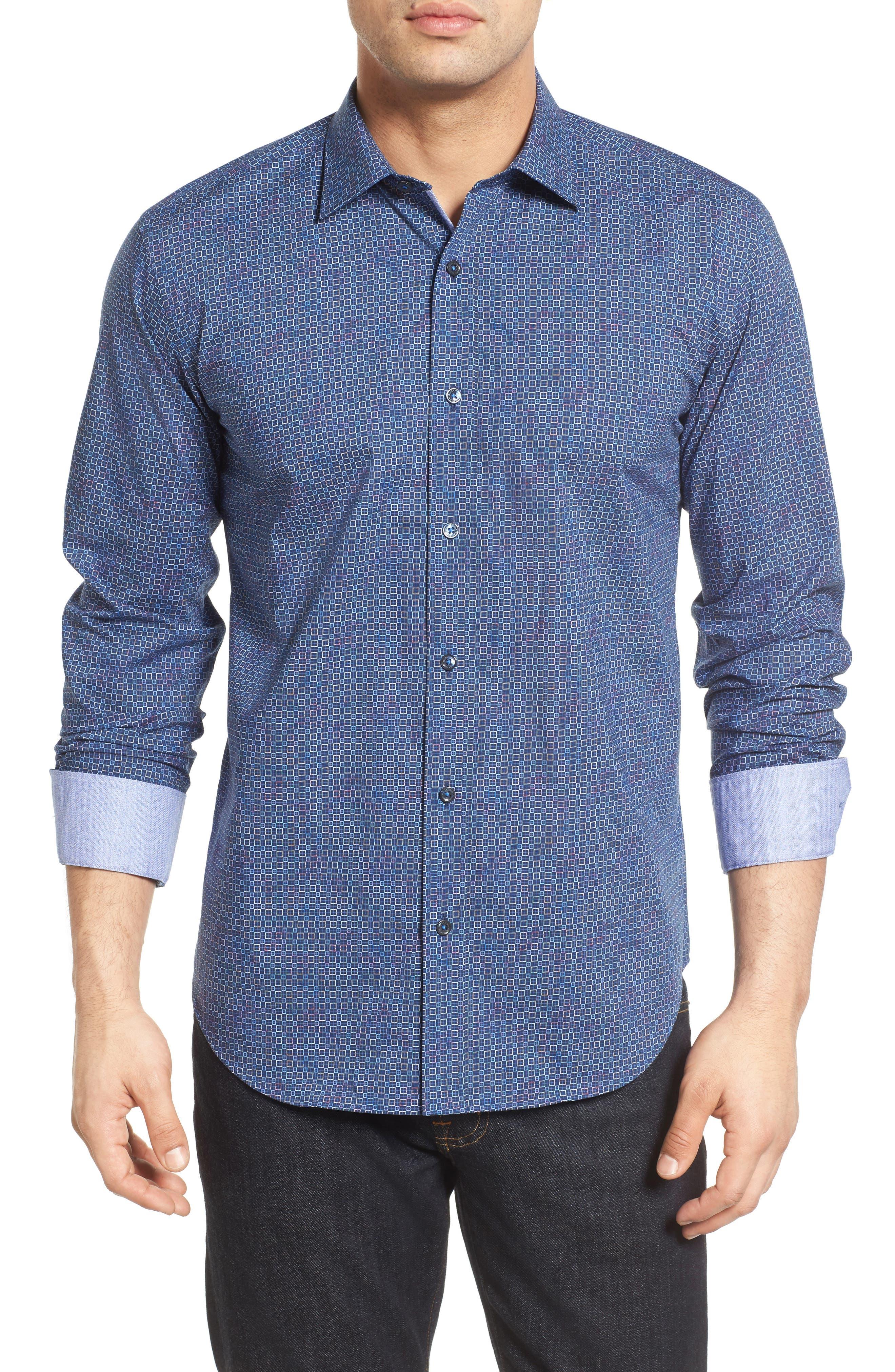 Bugatchi Shaped Fit Print Sport Shirt (Tall)