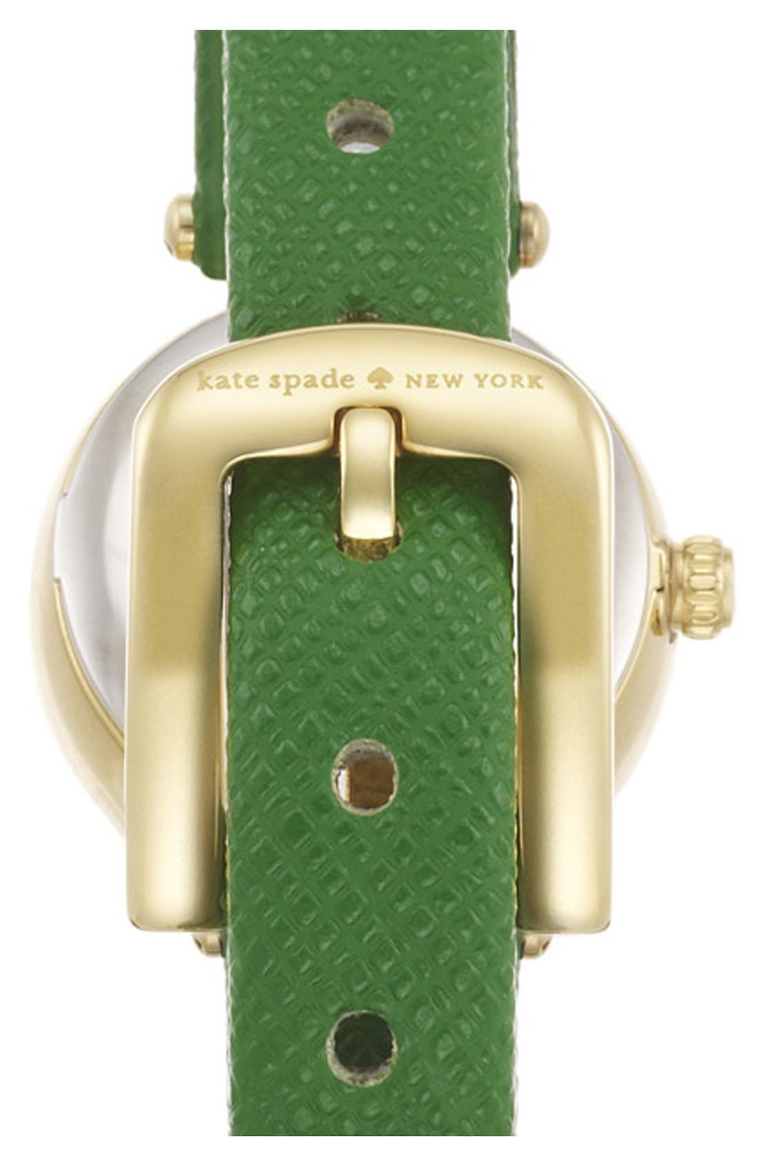 Alternate Image 2  - kate spade new york 'tiny metro' crystal bezel leather strap watch, 20mm