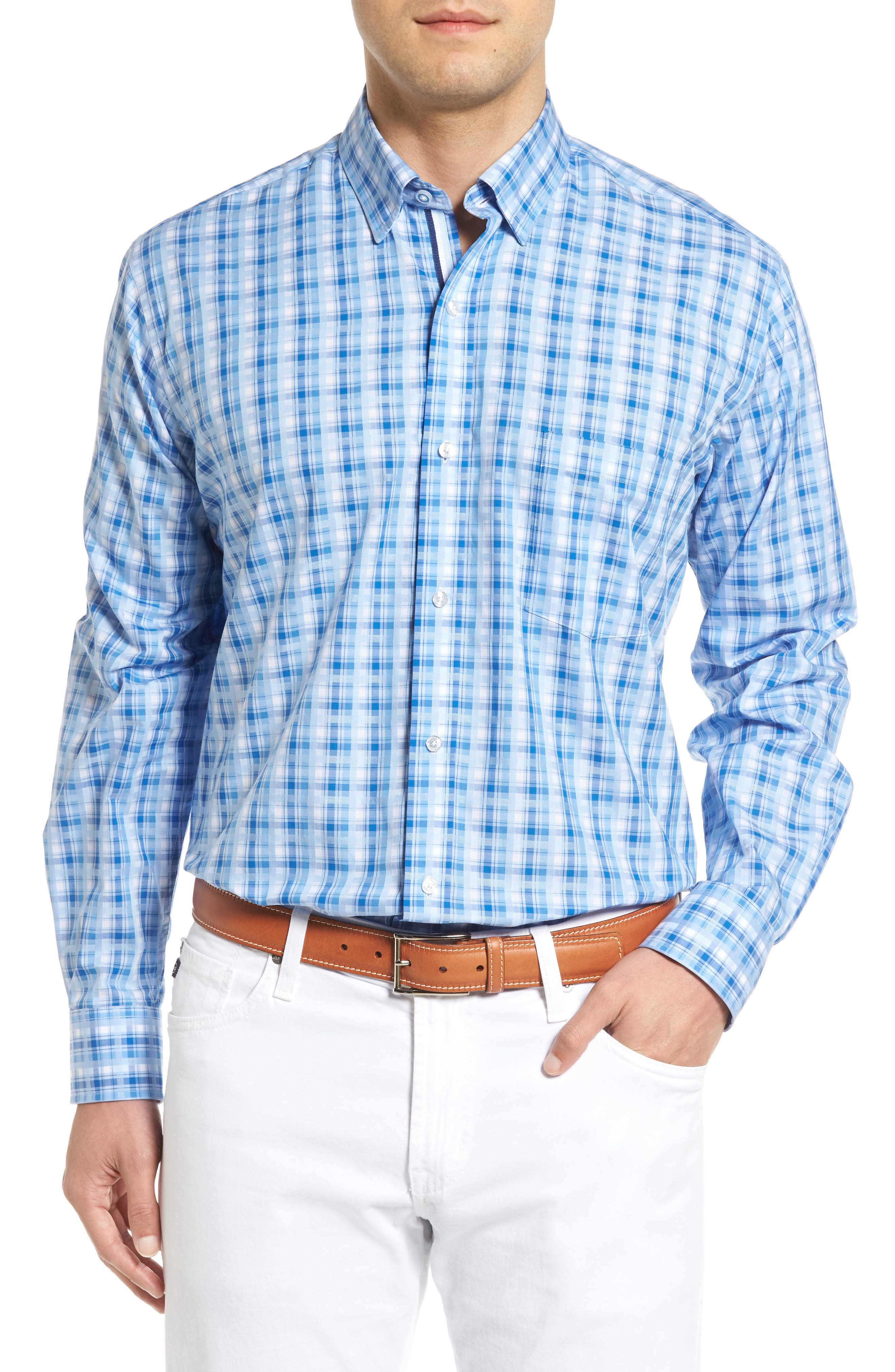 Tailorbyrd Inkberry Regular Fit Plaid Sport Shirt