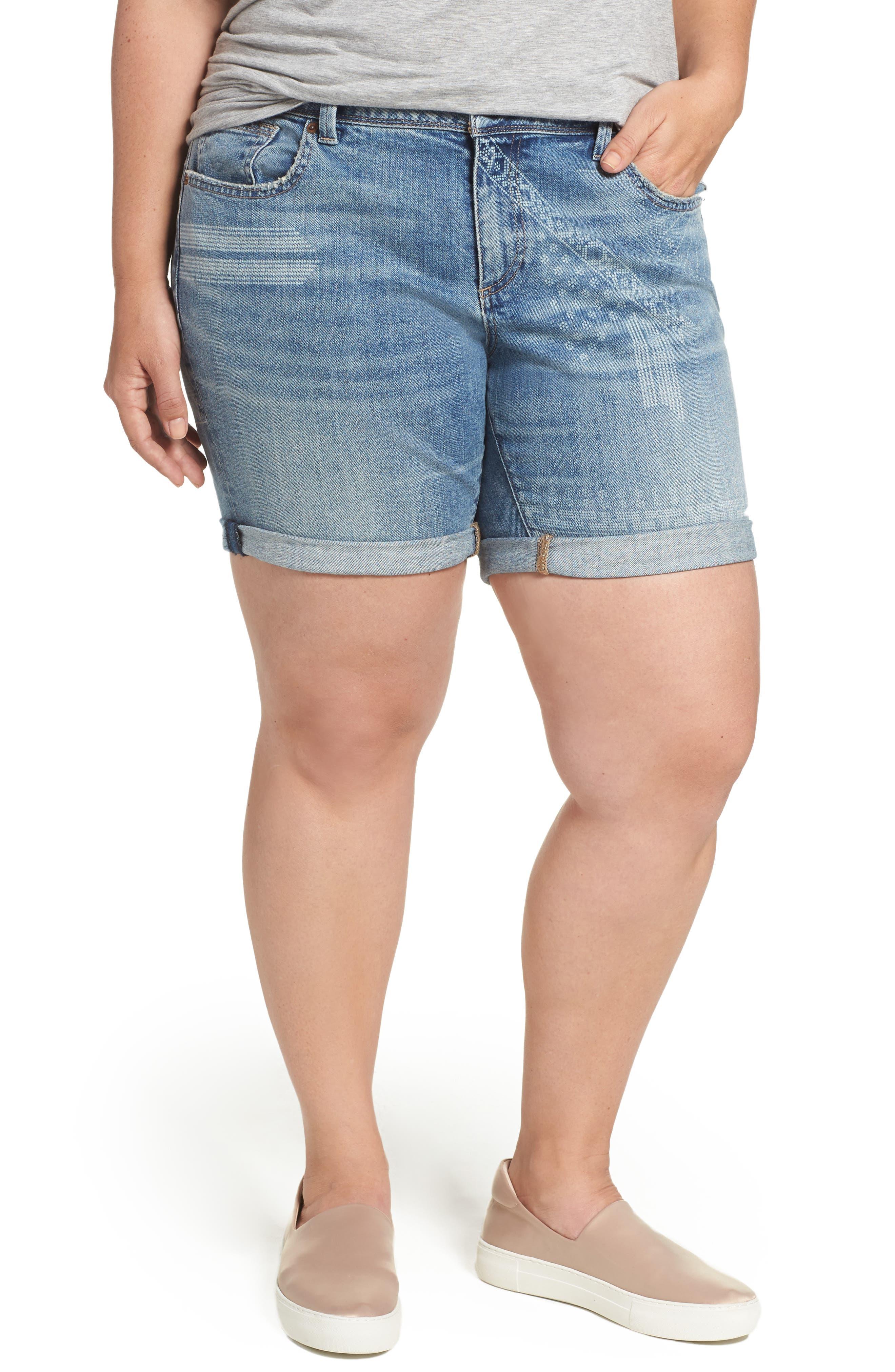 Lucky Brand Georgia Rolled Denim Shorts (Wichita Falls) (Plus Size)