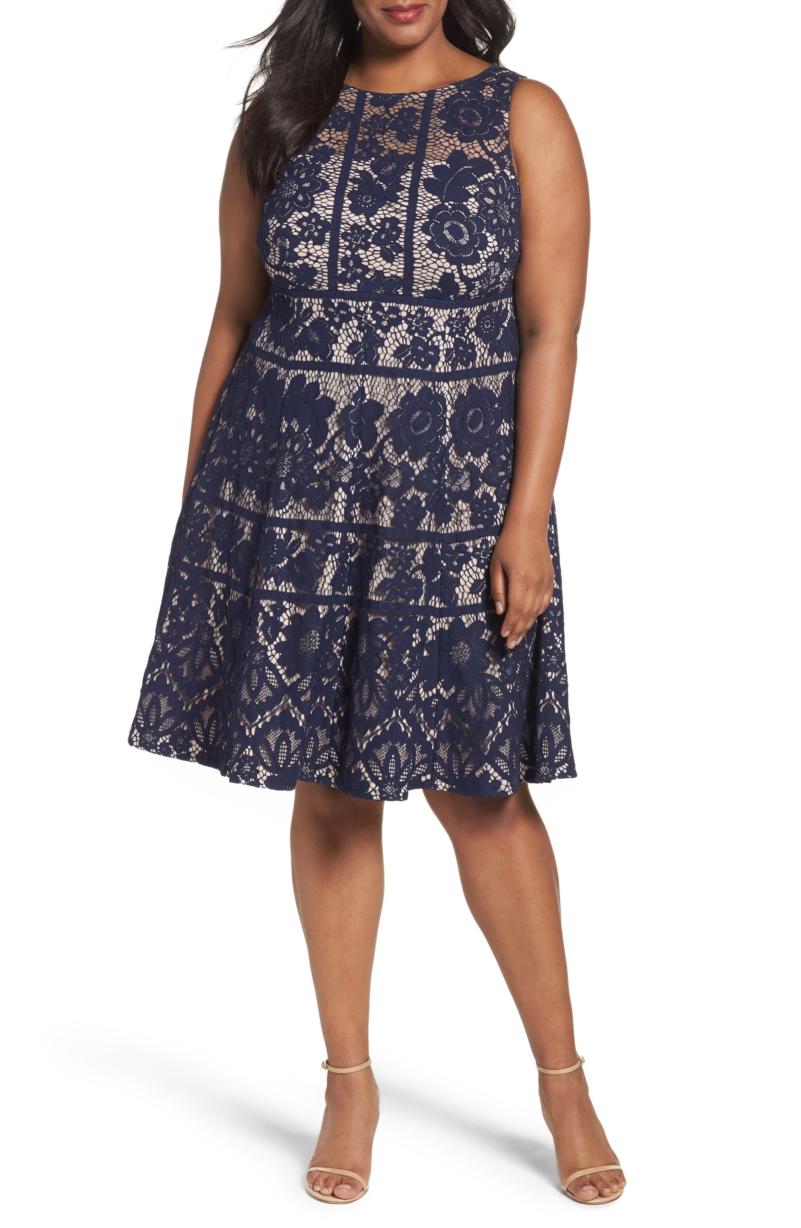 London Times Flower Bloom Lace A-Line Dress (Plus Size)