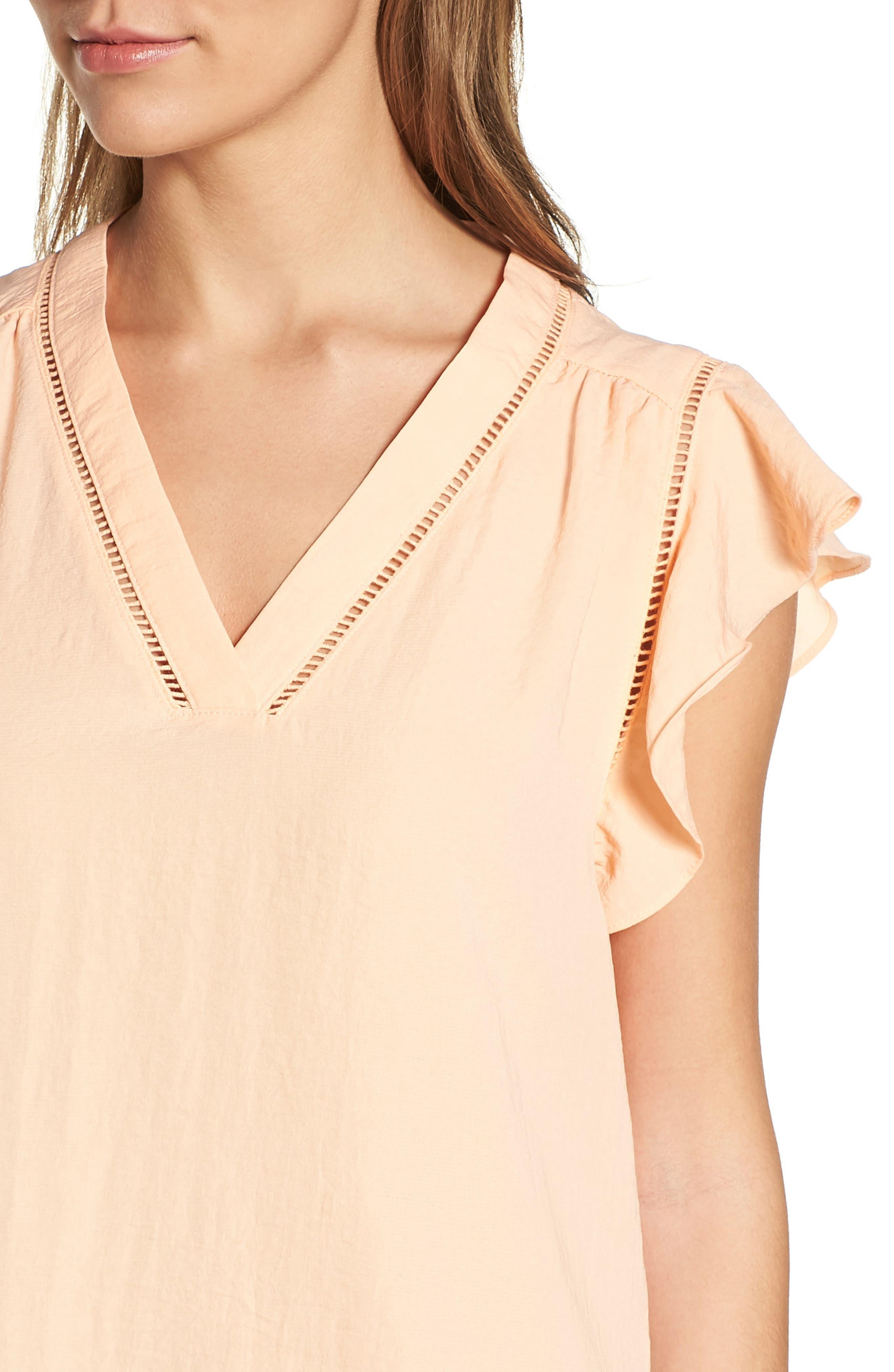 Alternate Image 4  - Halogen® Flutter Sleeve Top (Regular & Petite)