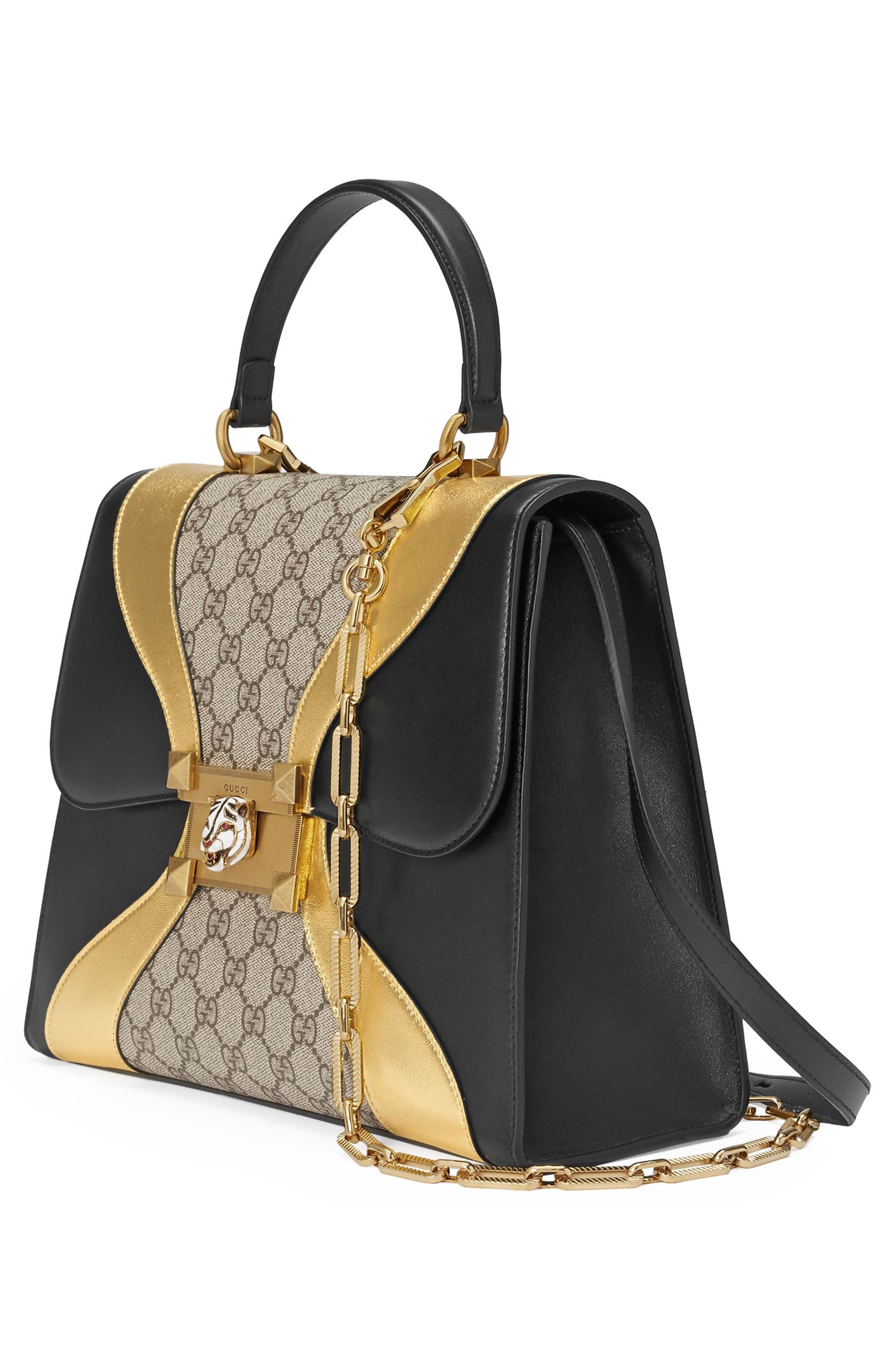 Alternate Image 4  - Gucci Iside Top Handle GG Supreme & Leather Satchel