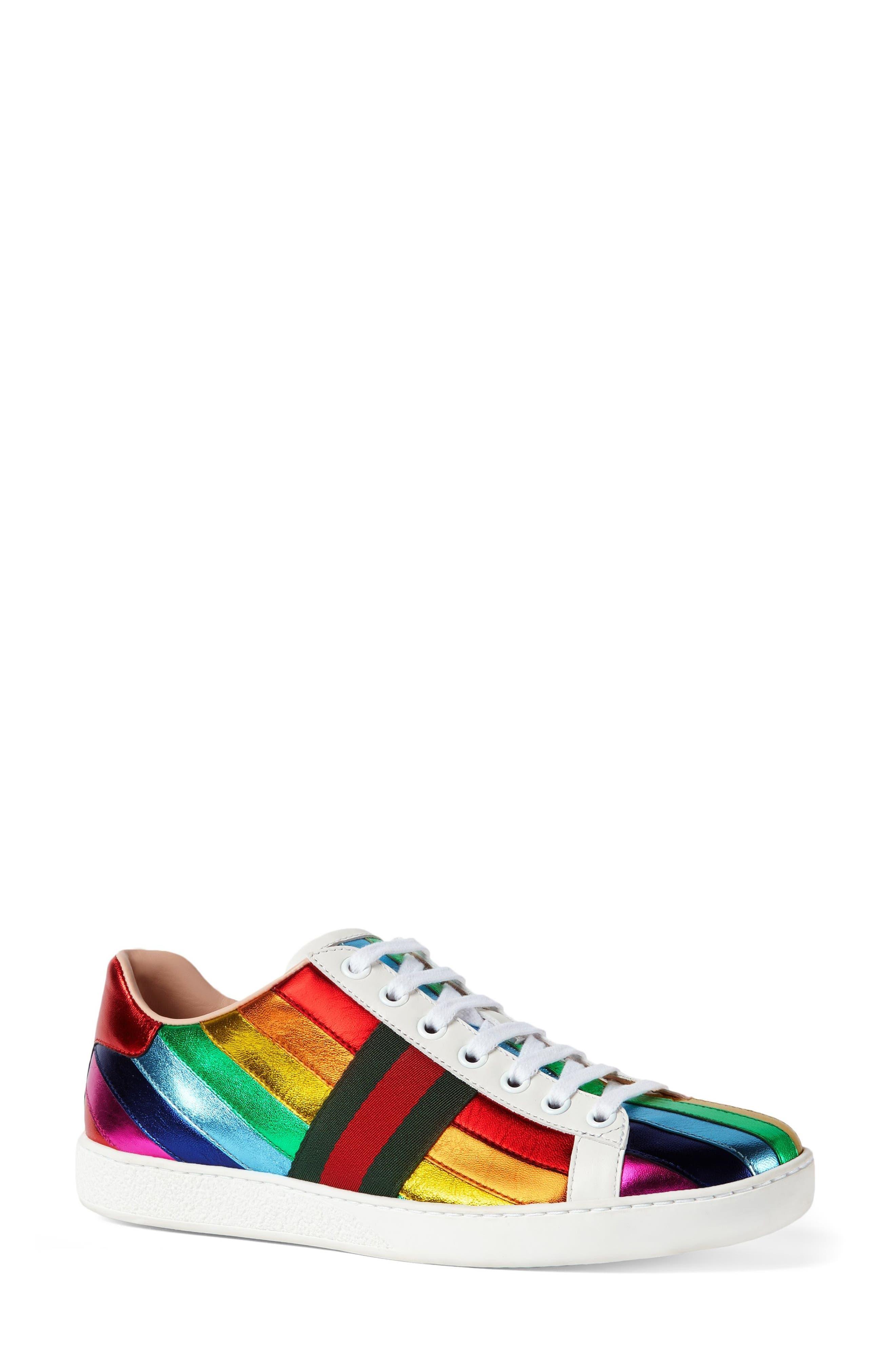 Alternate Image 2  - Gucci New Ace Rainbow Sneaker (Women)