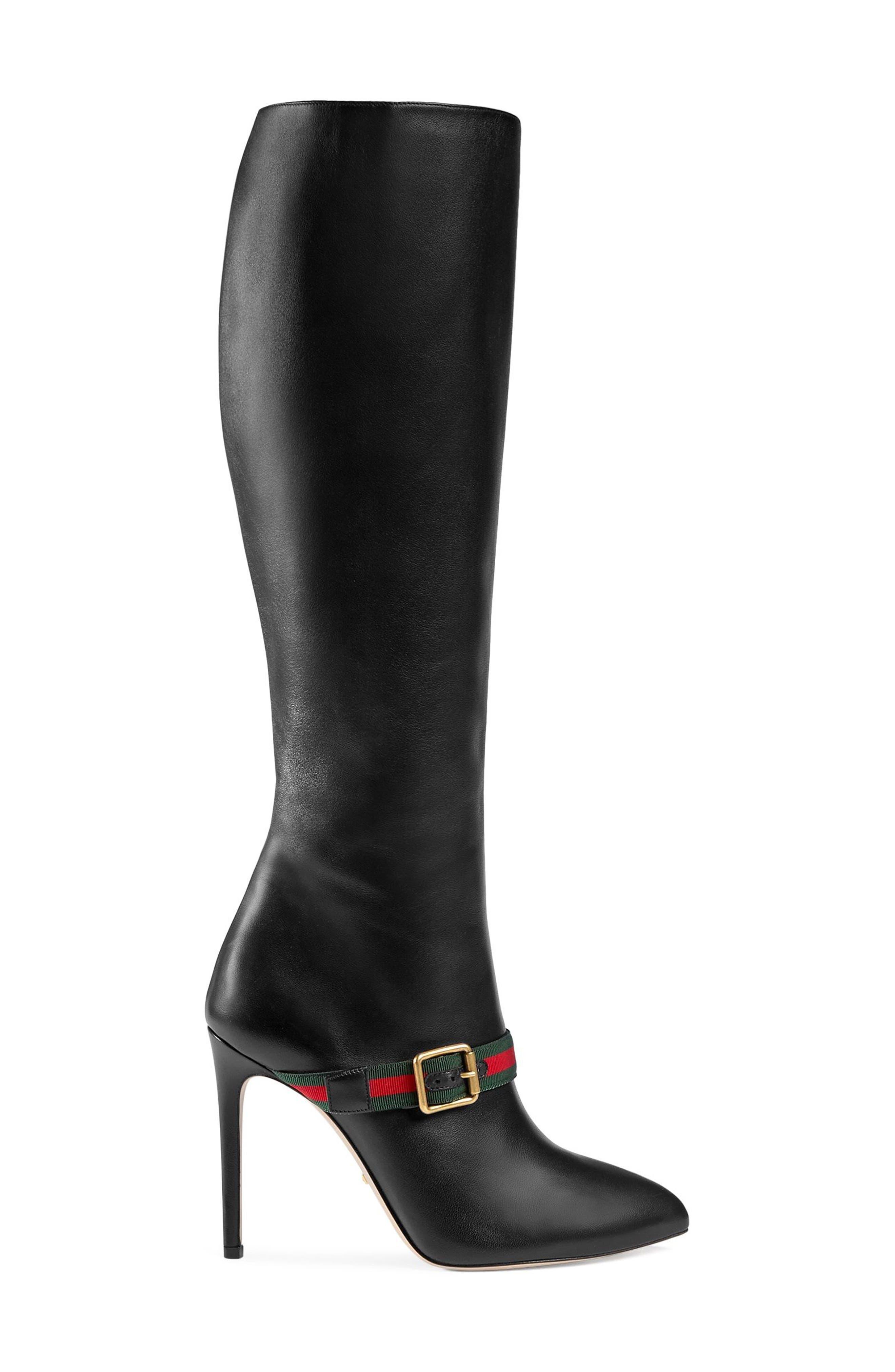 Main Image - Gucci Sylvie Strap Tall Boot (Women)