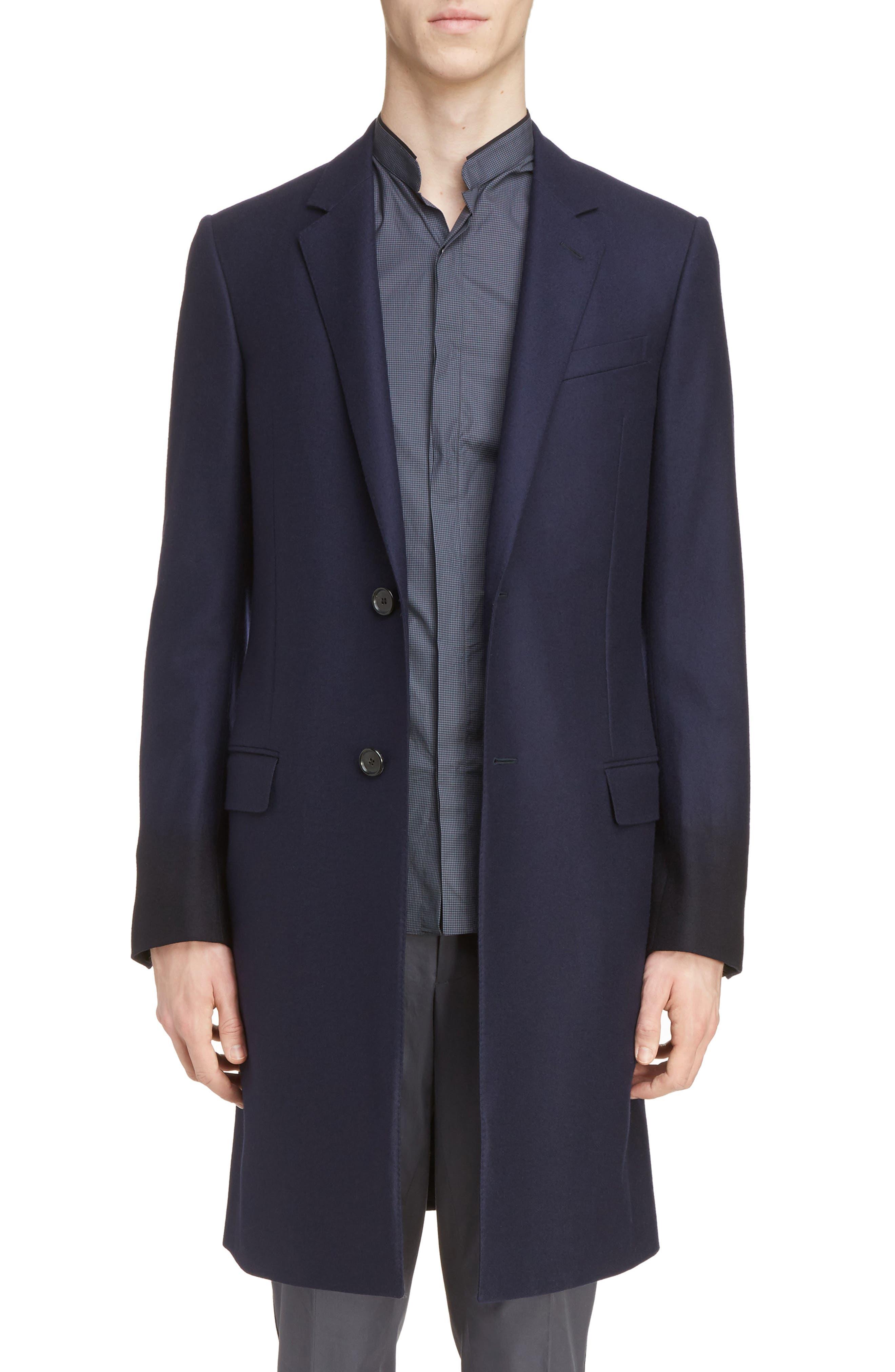 Lanvin Overdyed Sleeve Slim Wool Coat