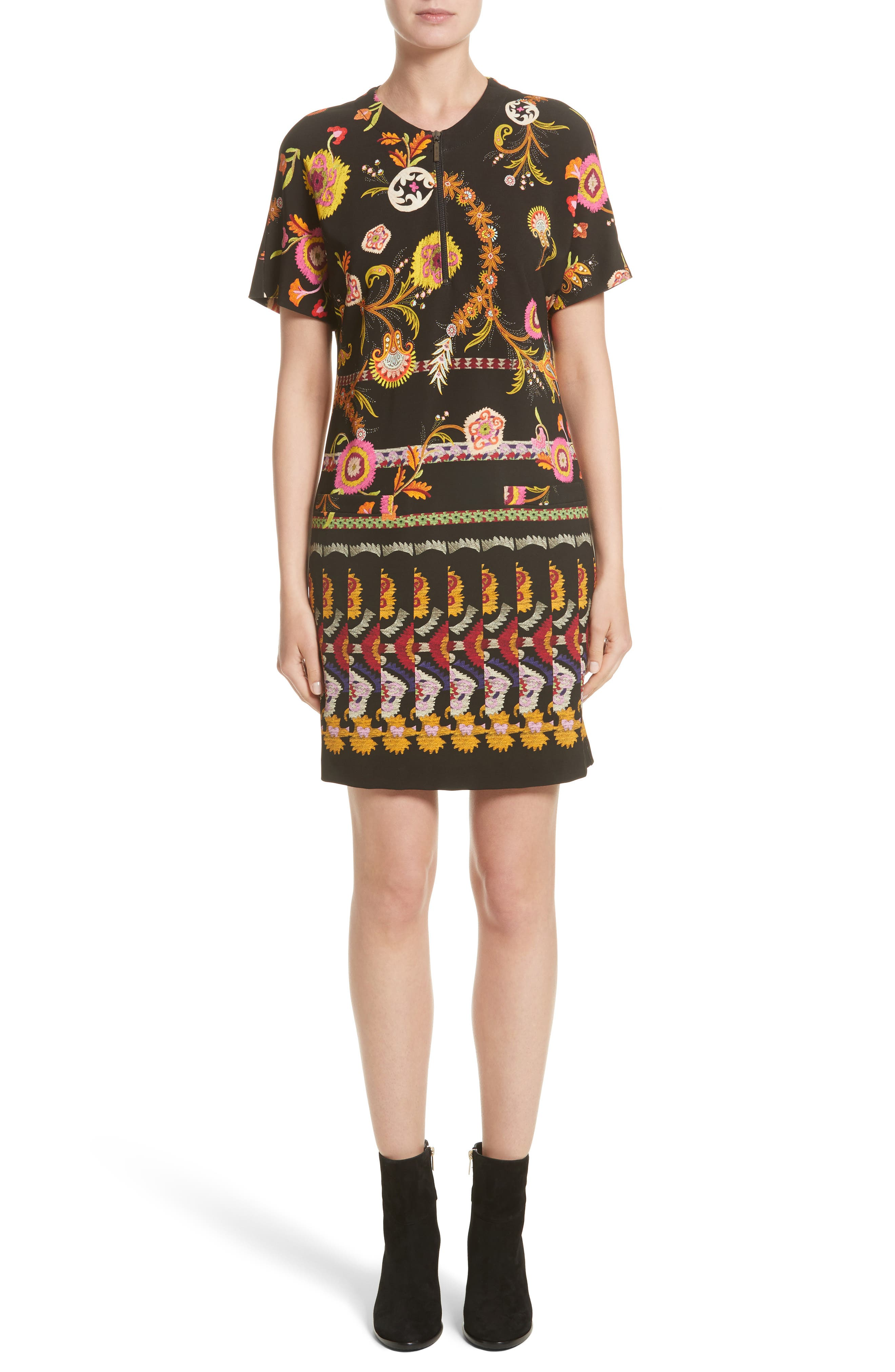 Etro Floral & Paisley Jersey Dress