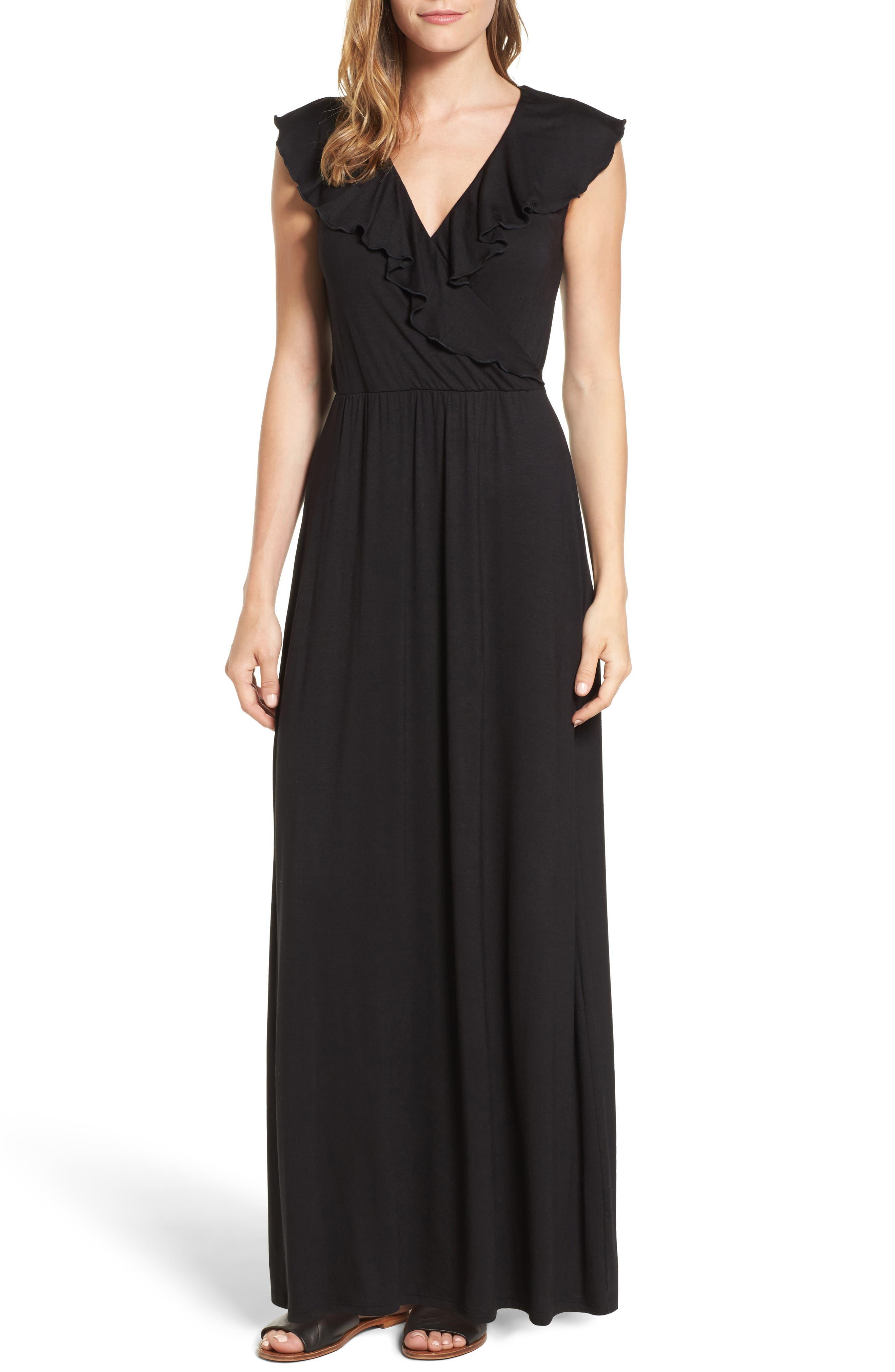 Loveappella Ruffle Maxi Dress (Regular & Petite)