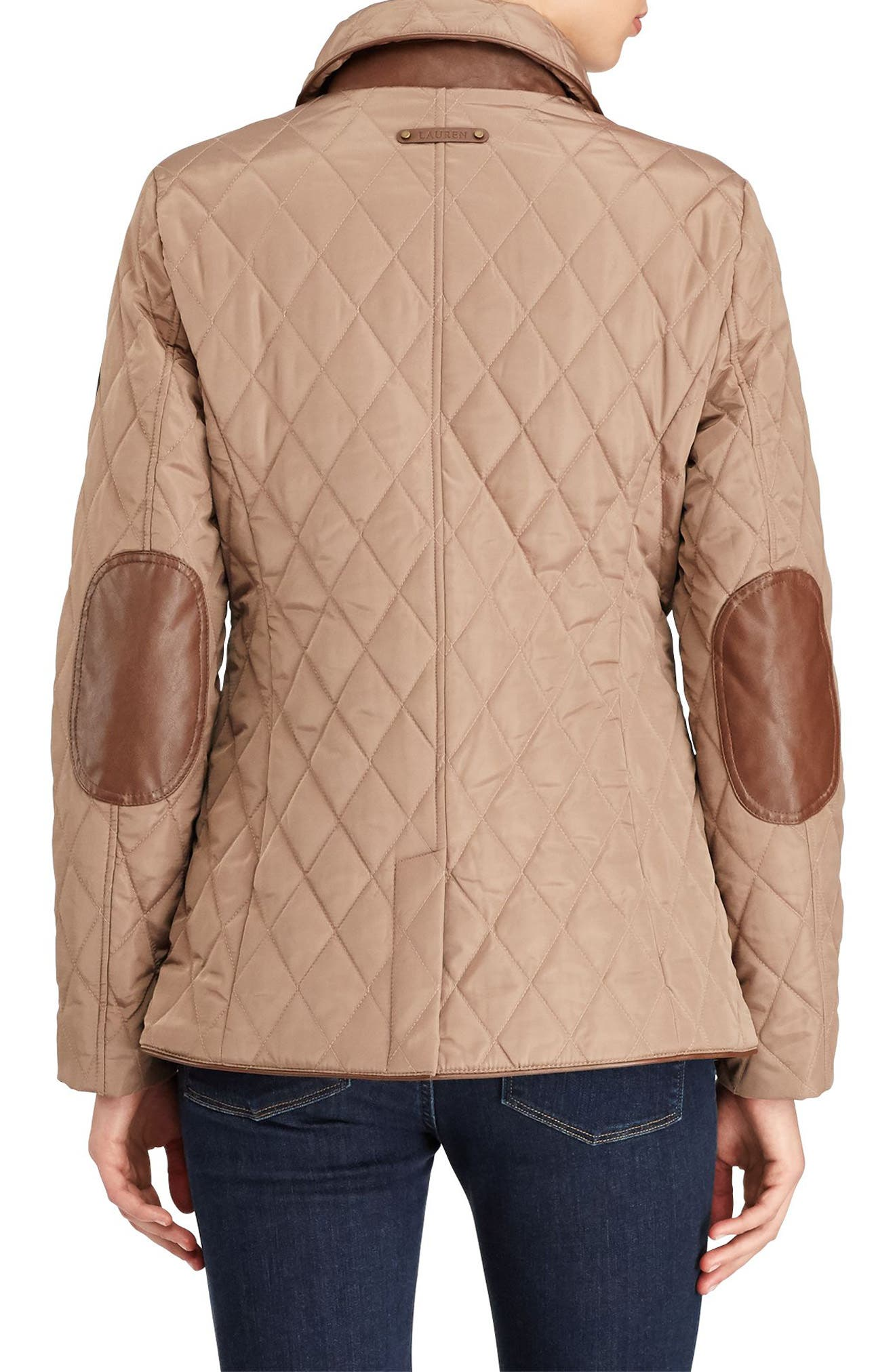 Alternate Image 3  - Lauren Ralph Lauren Faux Leather Trim Quilted Jacket (Regular & Petite)