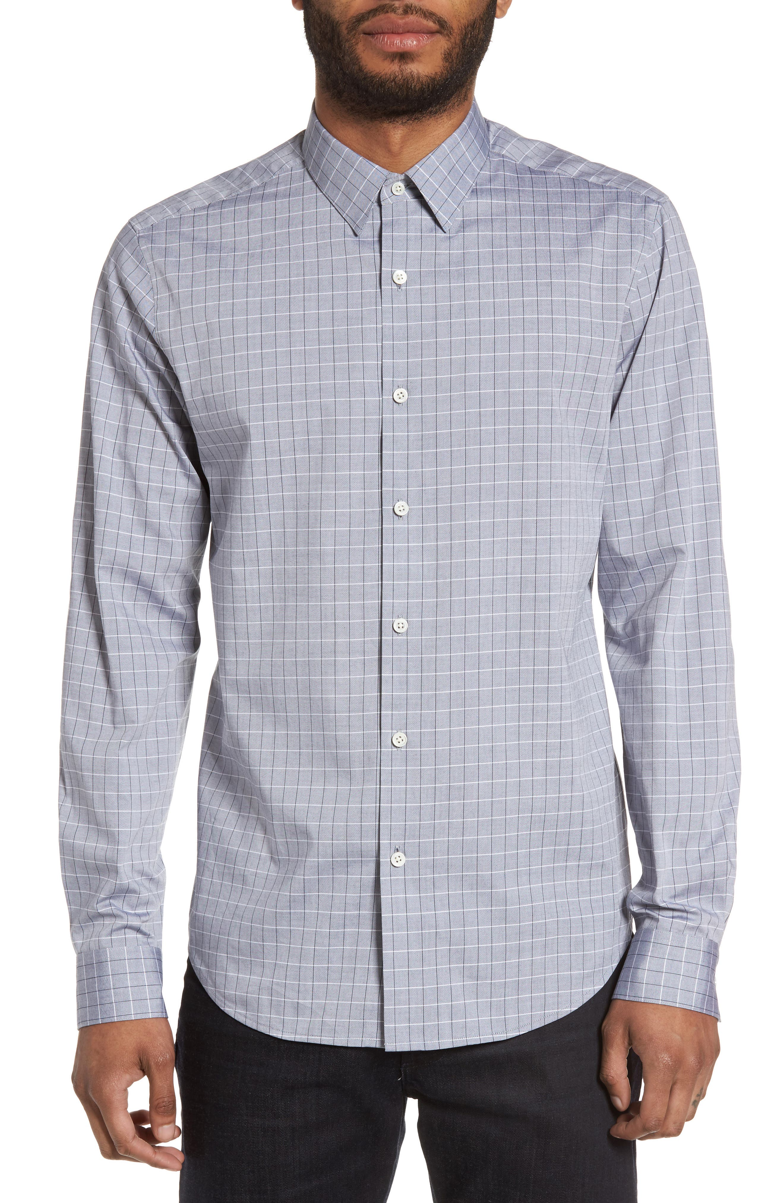 Theory Sylvain Oxford Trim Fit Grid Sport Shirt