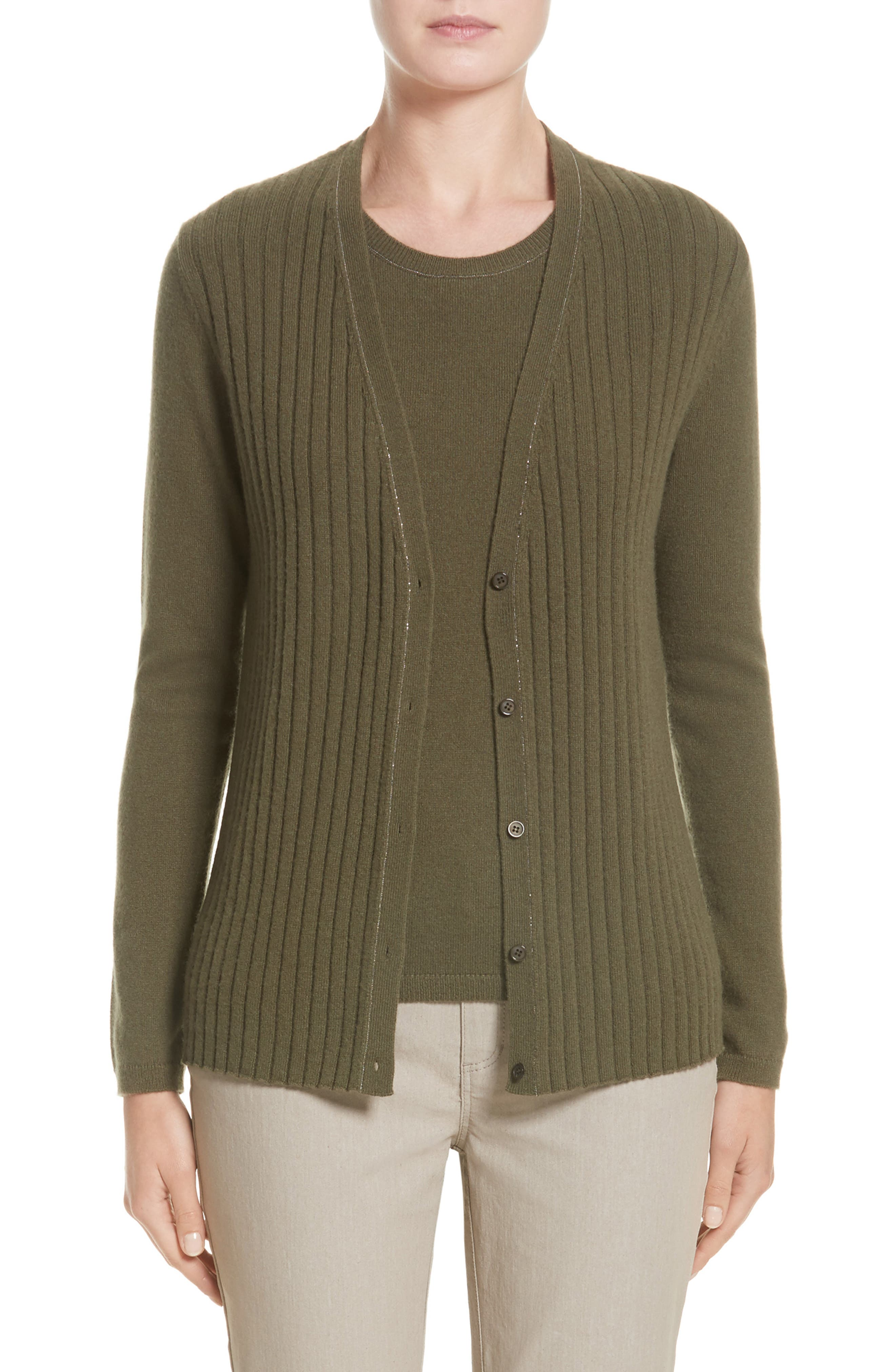 Lafayette 148 New York Chain Detail Cashmere Cardigan (Nordstrom Exclusive)
