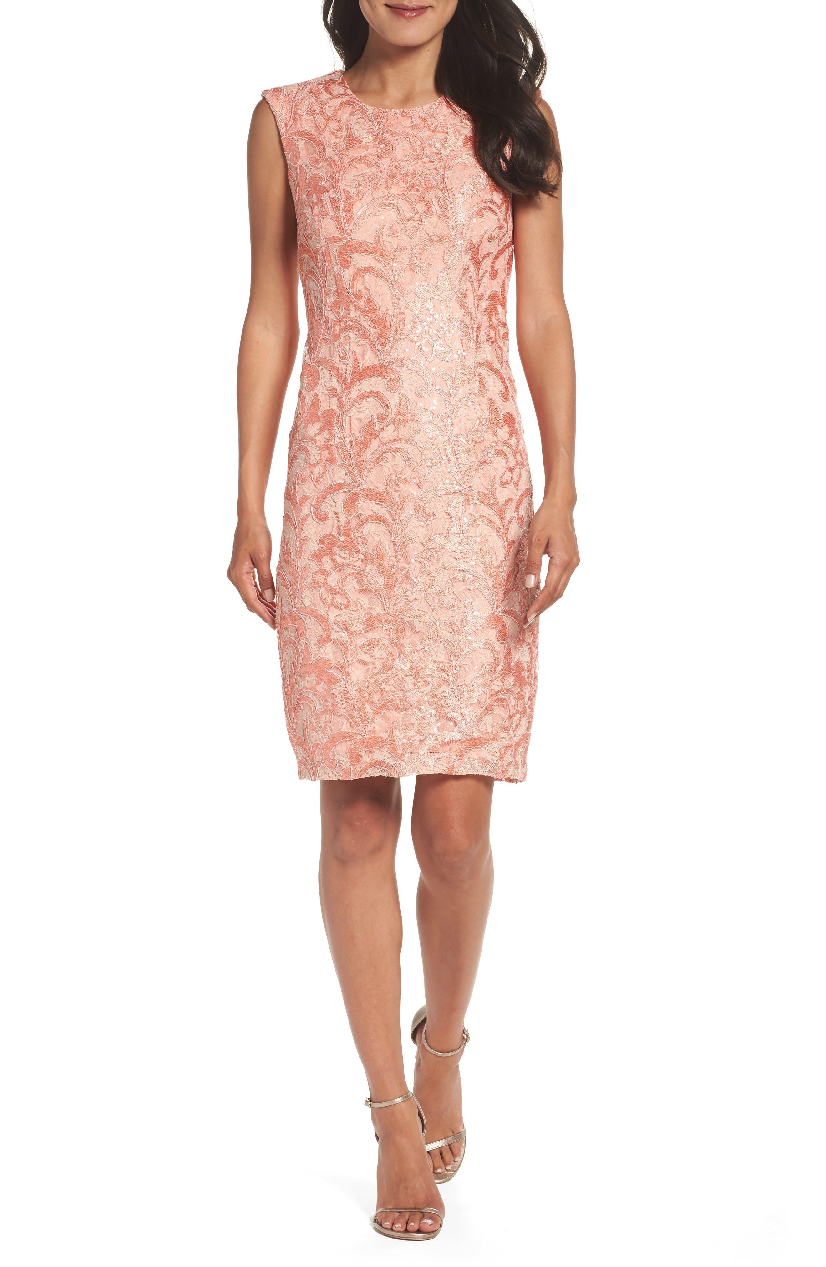 Alternate Image 1 Selected - Chetta B Sequin Lace Sheath Dress