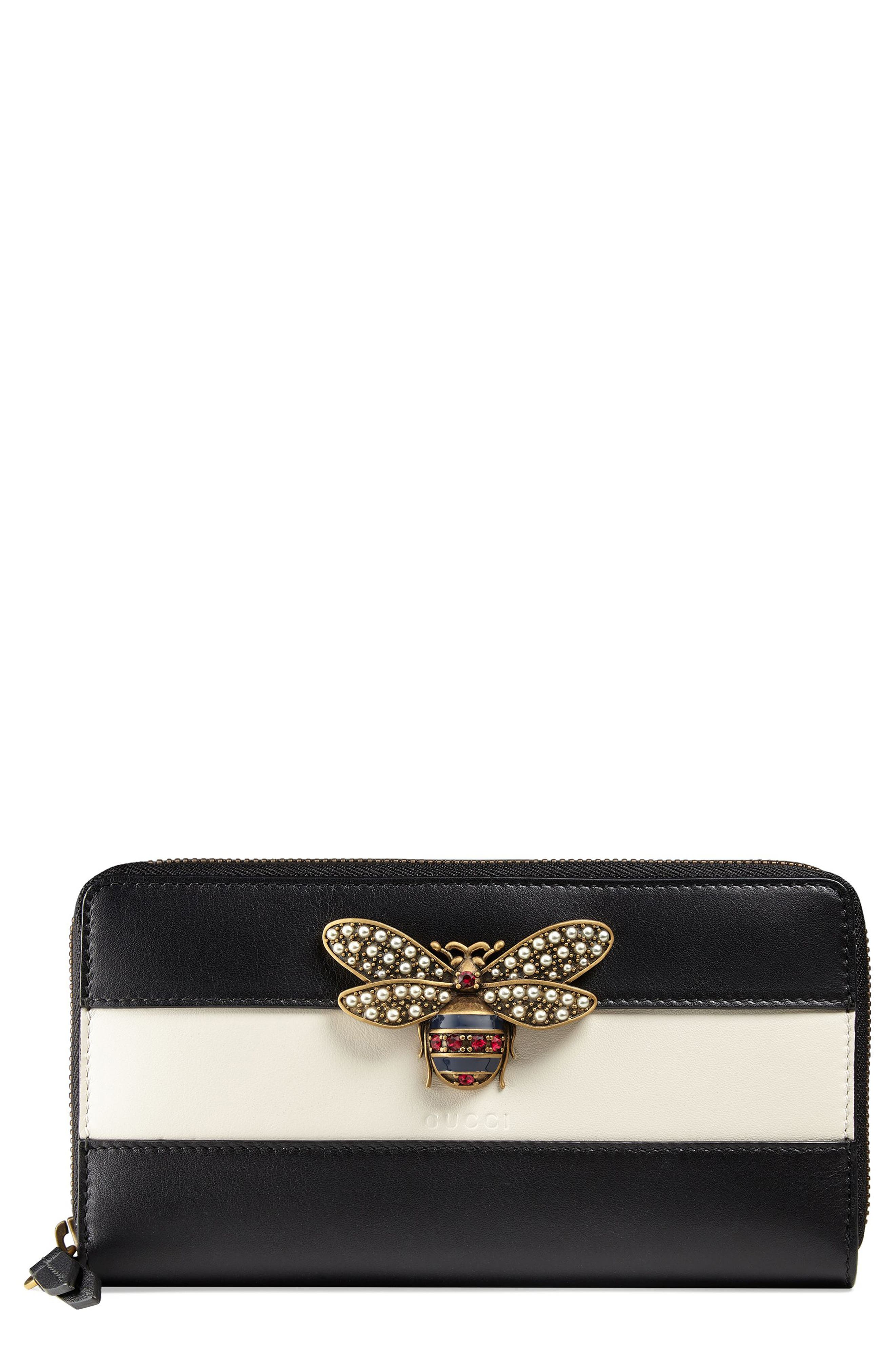 Alternate Image 1 Selected - Gucci Bee Leather Zip-Around Wallet