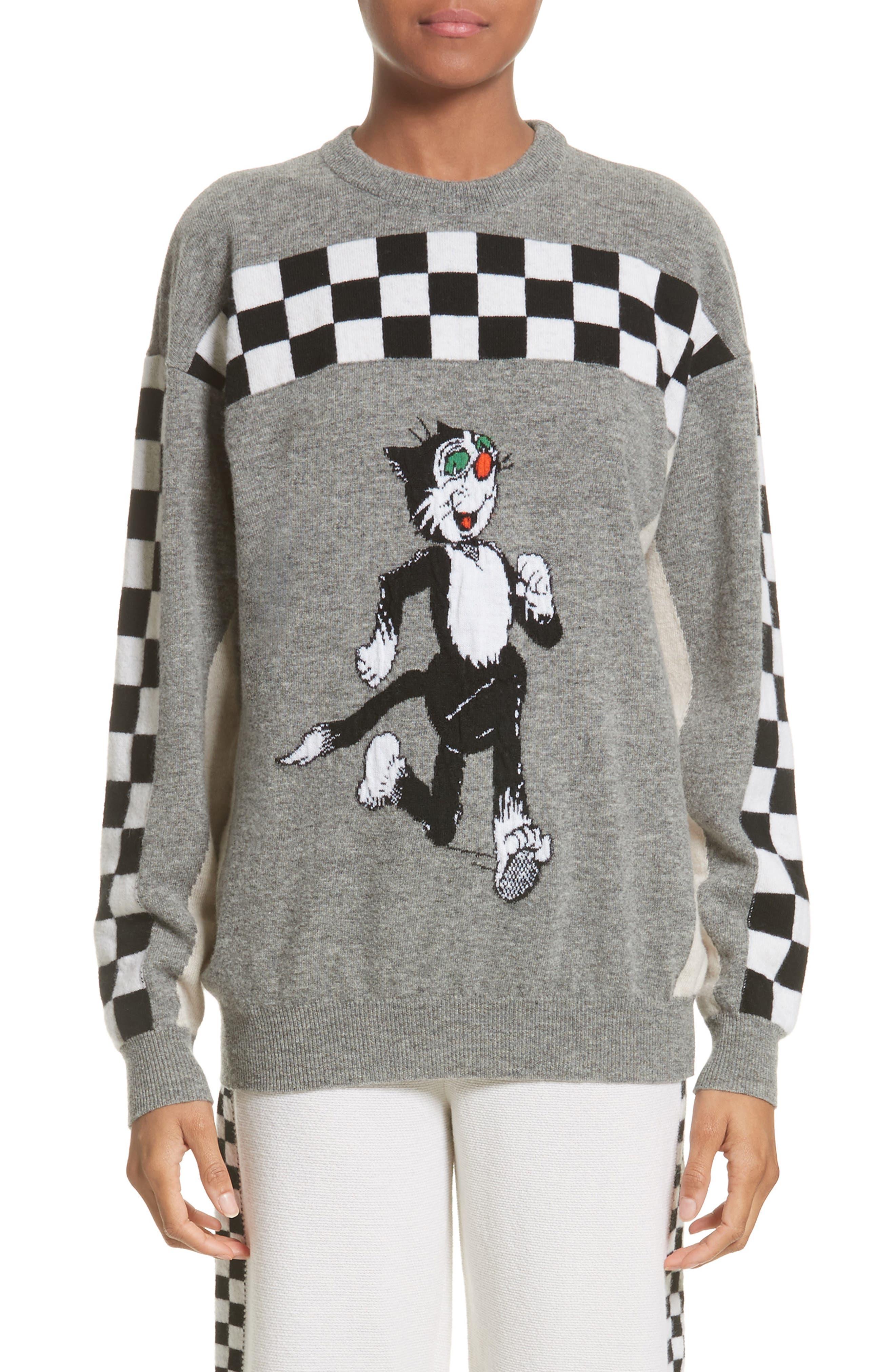 Stella McCartney Korky the Cat Check Wool Sweater