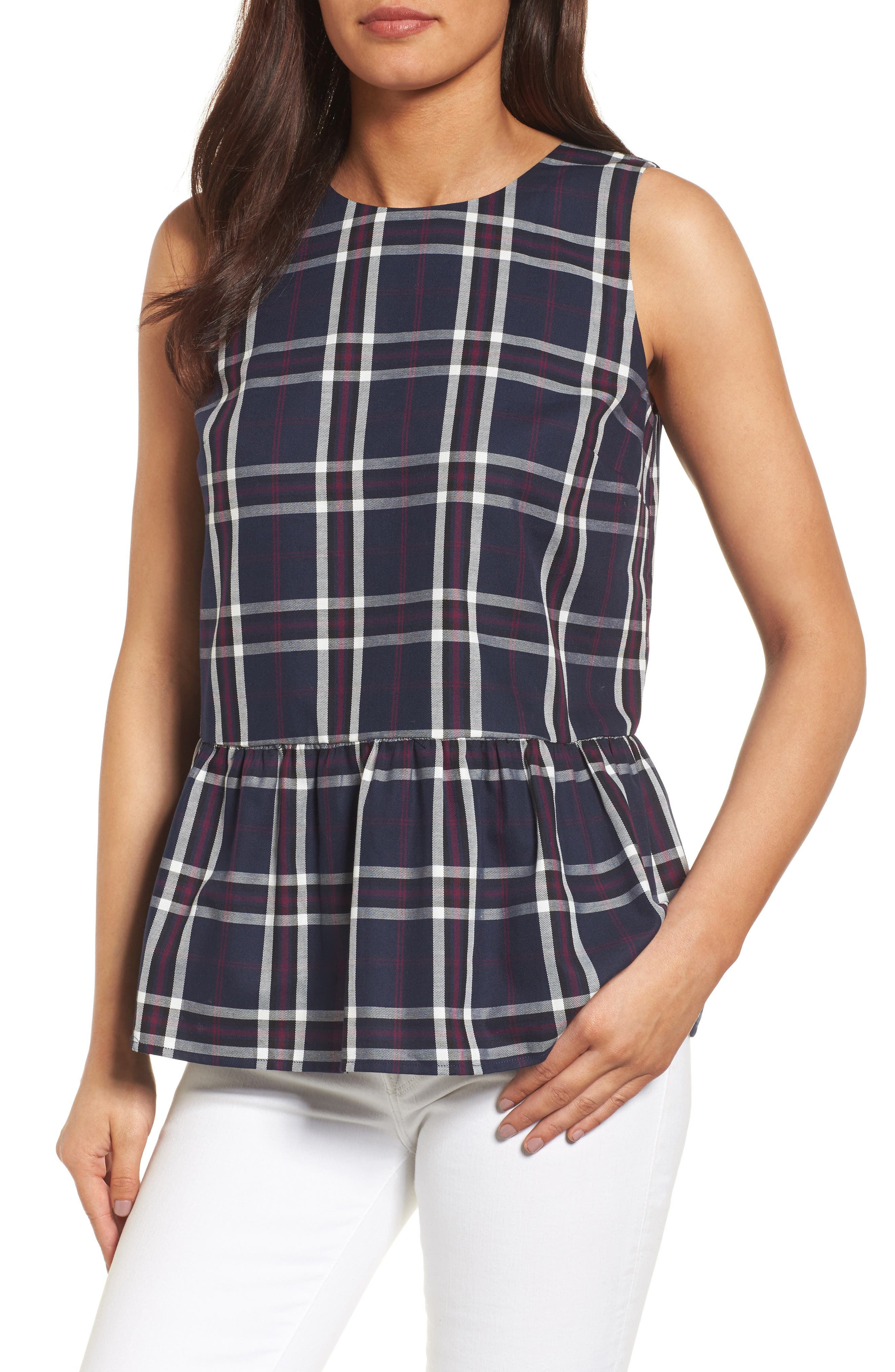 Halogen® Bow Back Peplum Top (Regular & Petite)