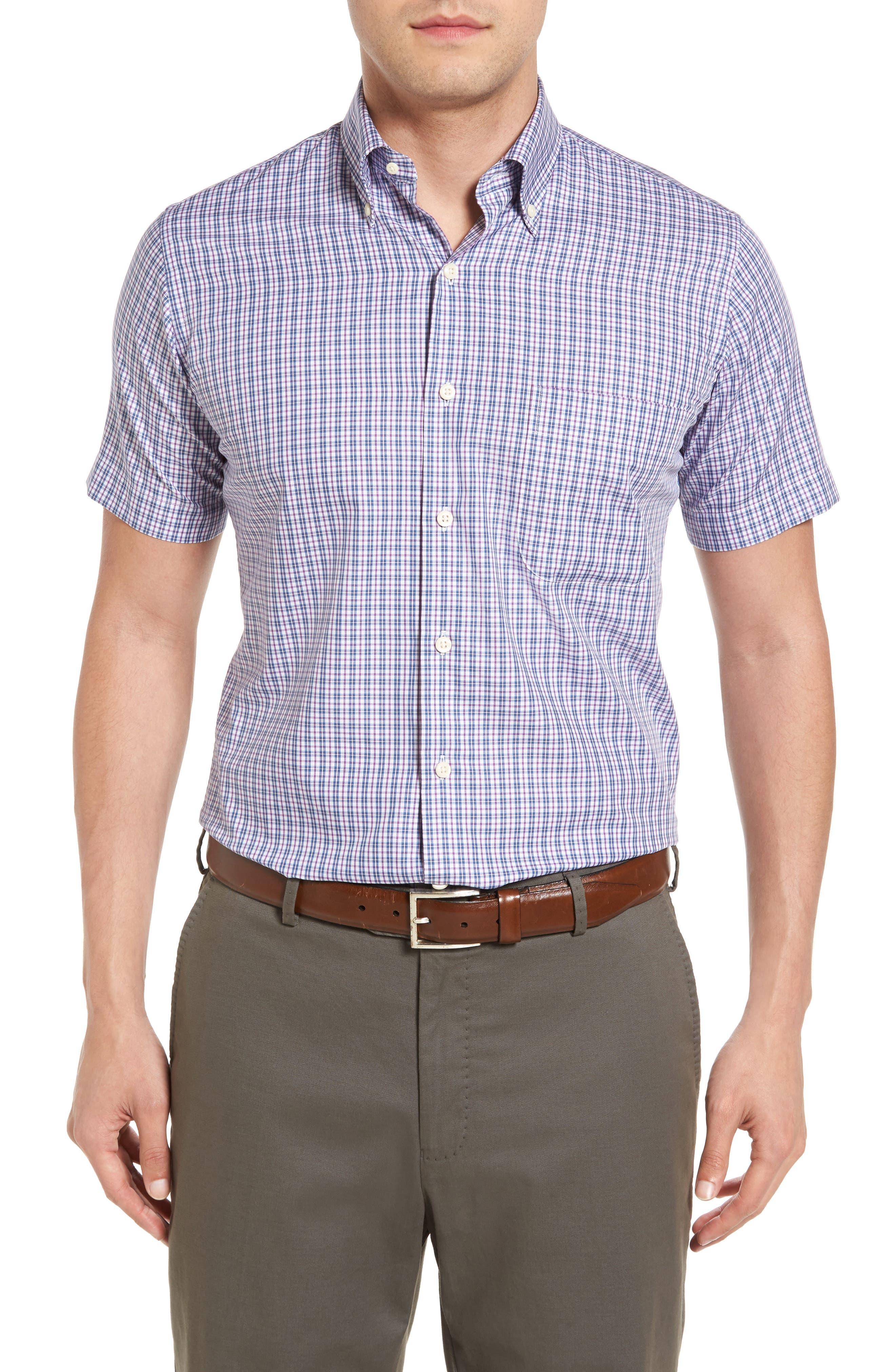 Peter Millar Regular Fit Short Sleeve Hillock Plaid Sport Shirt