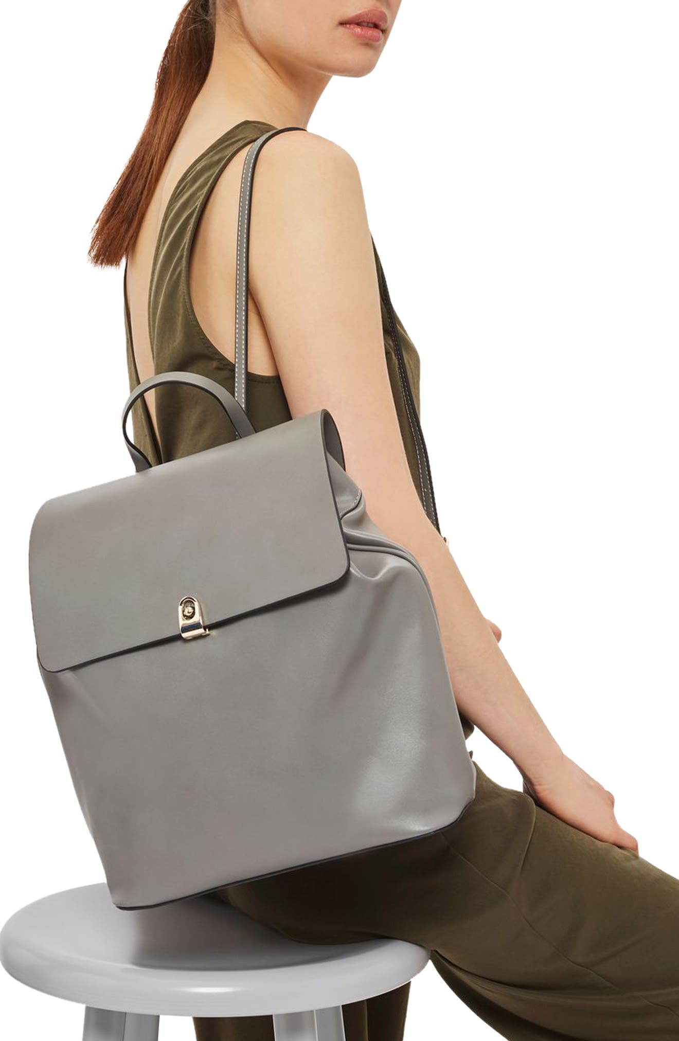 Alternate Image 2  - Topshop Barnet Faux Leather Backpack