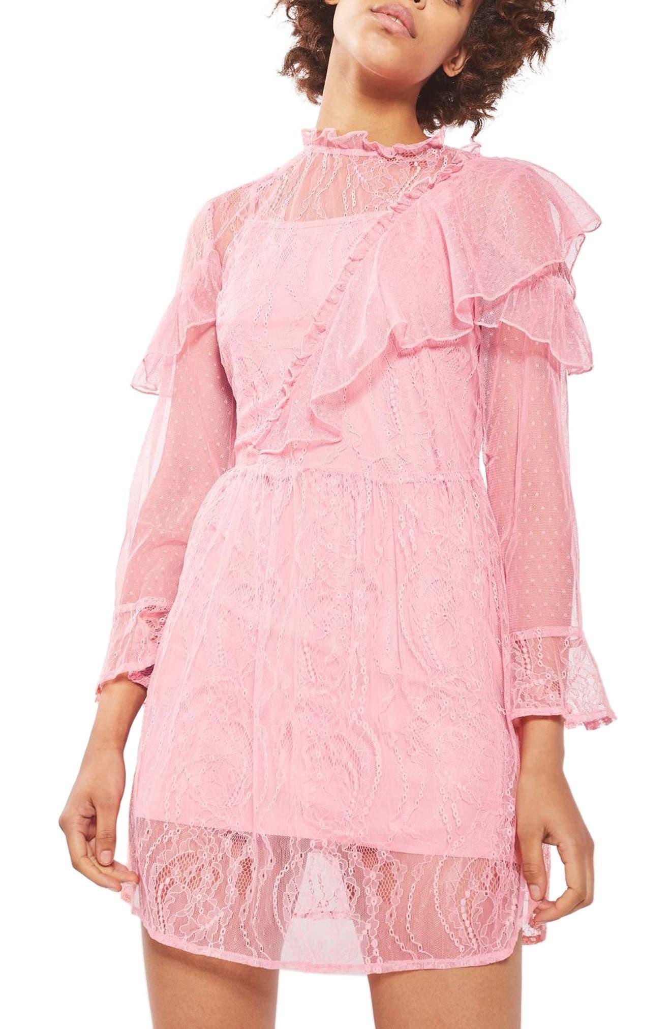 Topshop Ruffle Lace Minidress