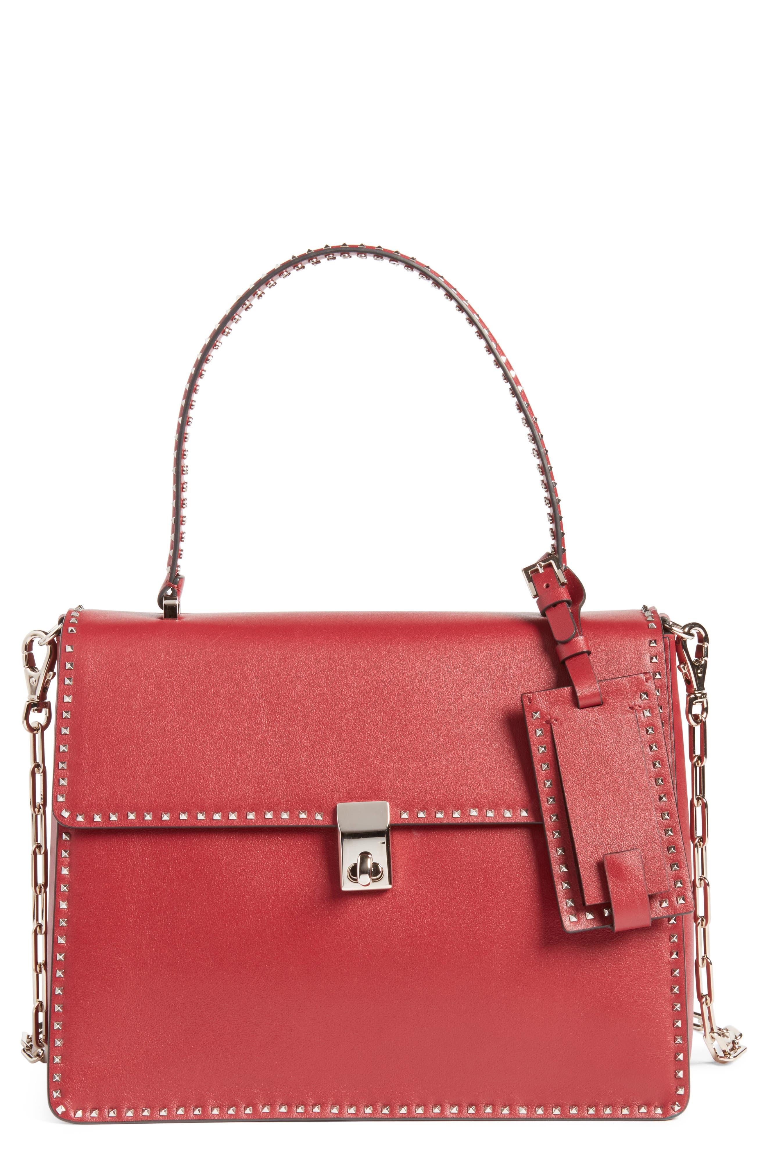VALENTINO GARAVANI Rockstud Calfskin Leather Single Handle Shoulder Bag