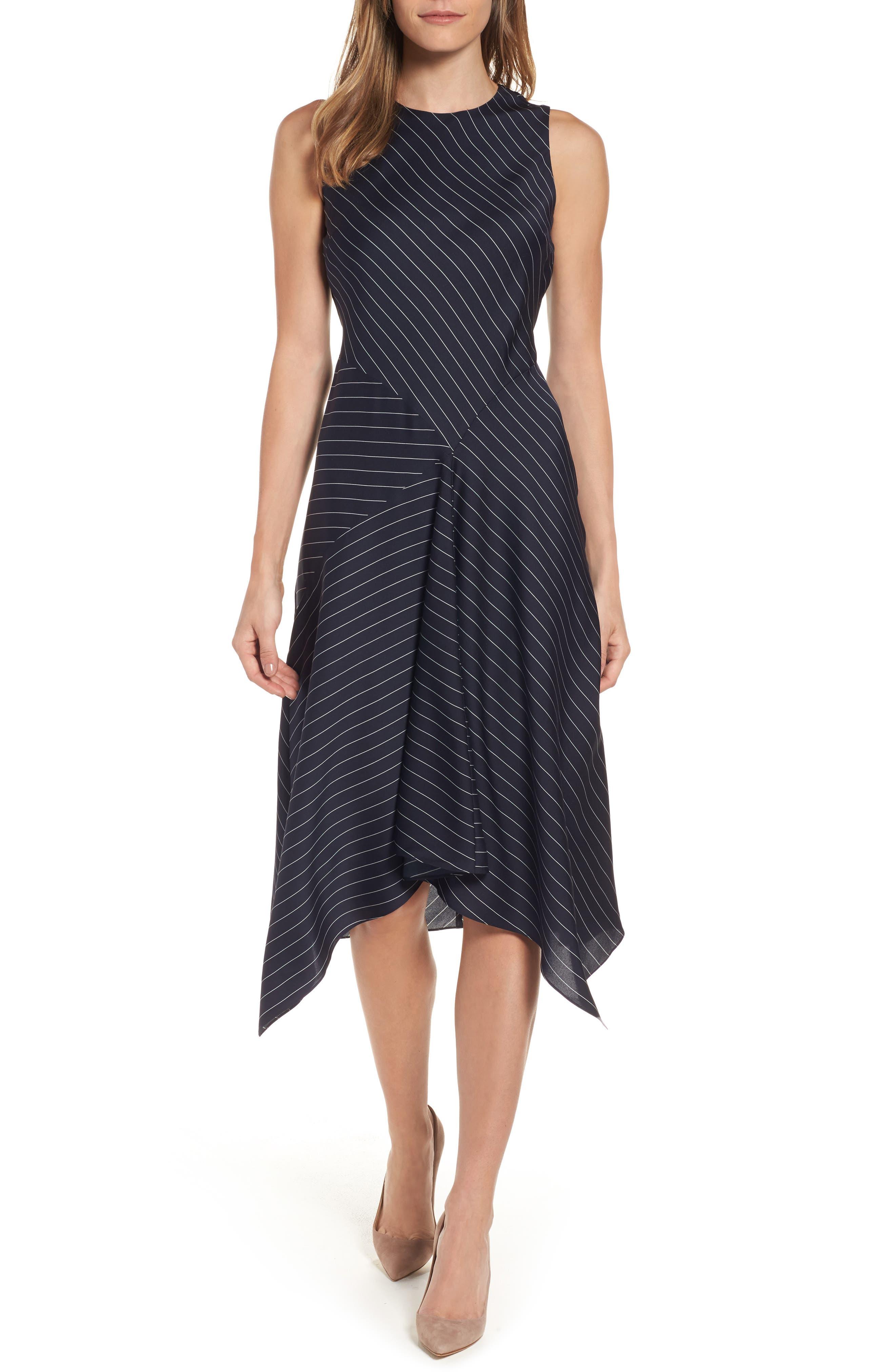 Classiques Entier® Pinstripe Stretch Silk Midi Dress
