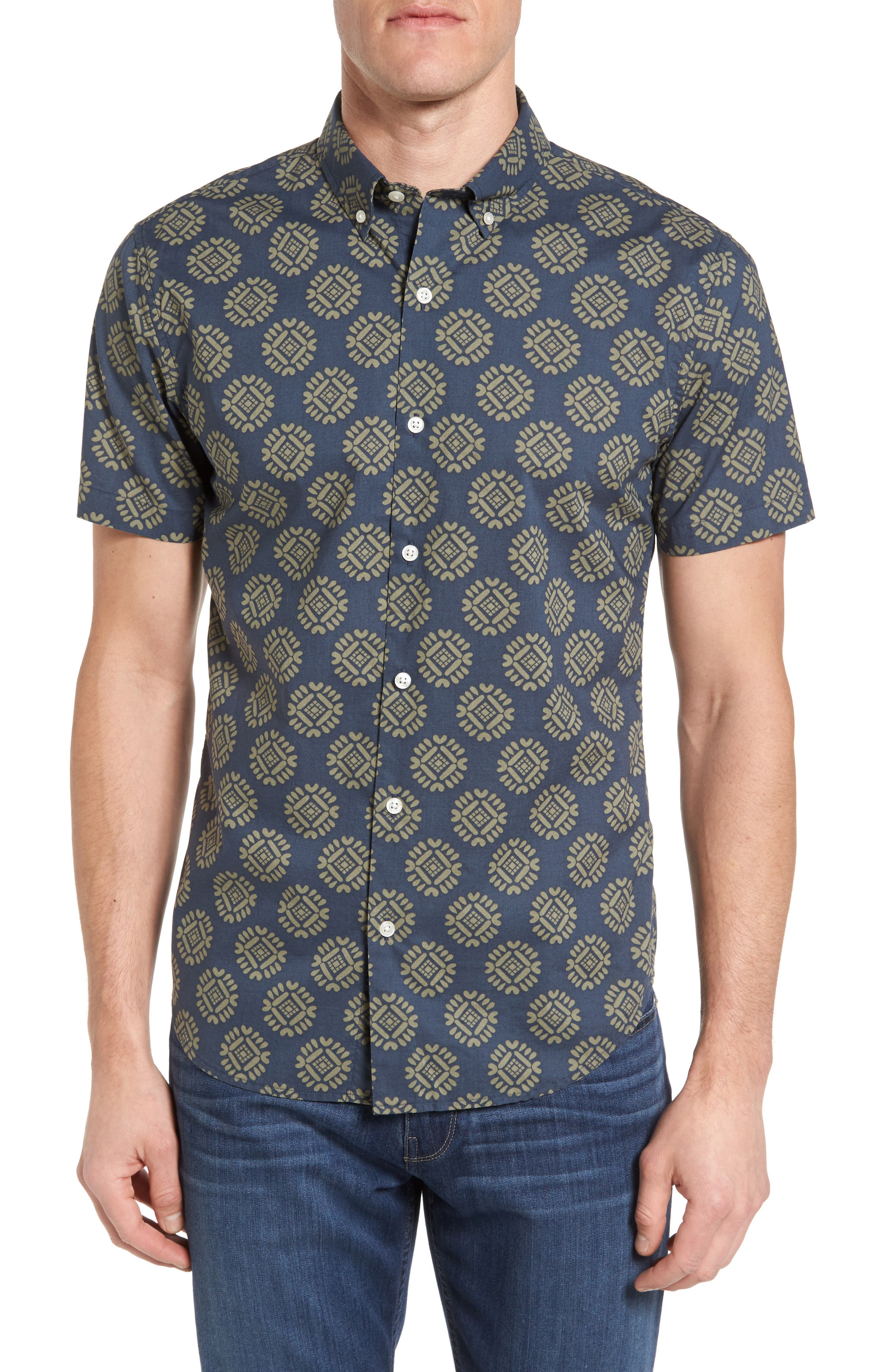 Bonobos Slim Fit Short Sleeve Floral Medallion Sport Shirt