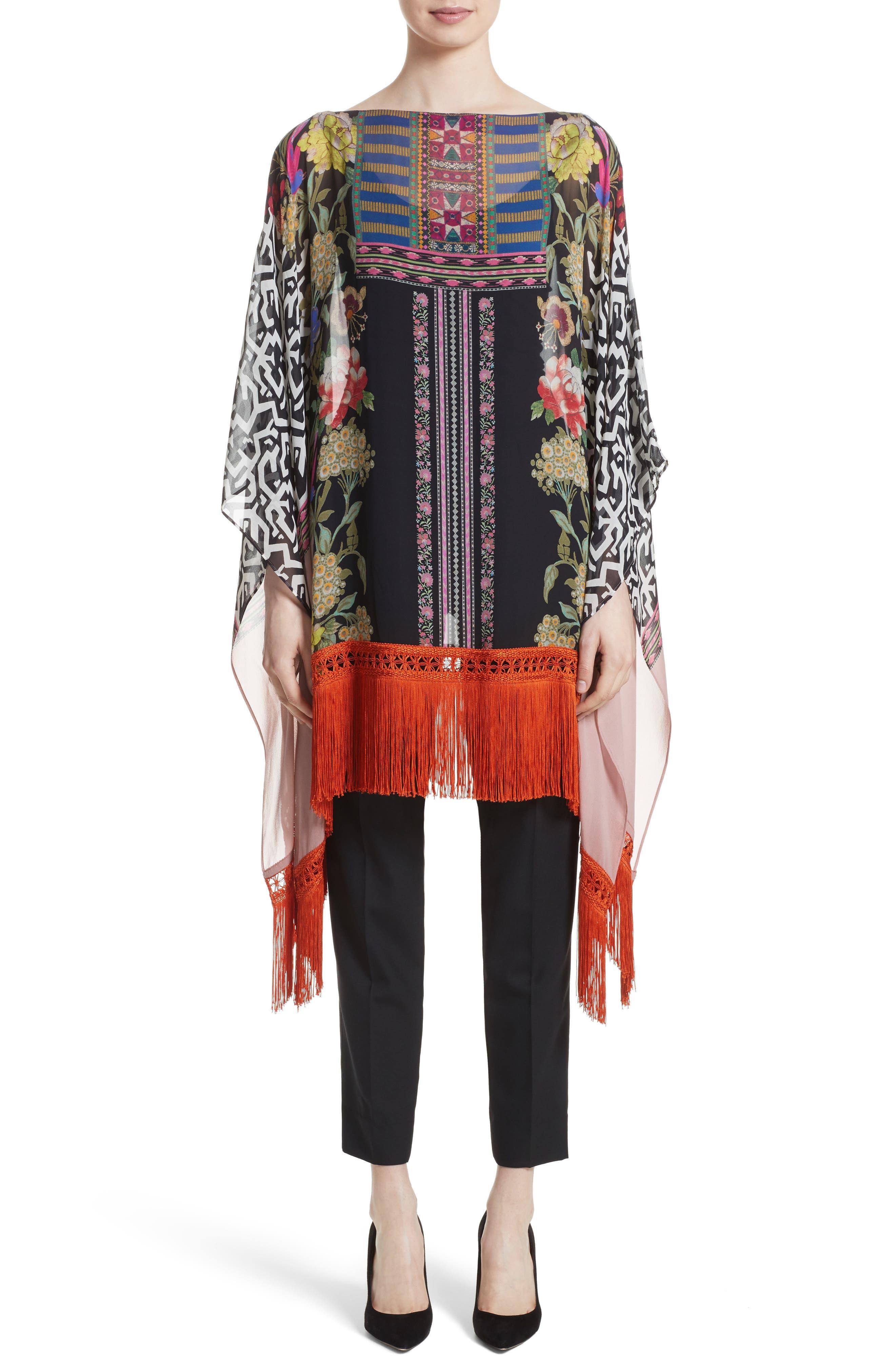Etro Fringe Trim Floral Print Silk Poncho