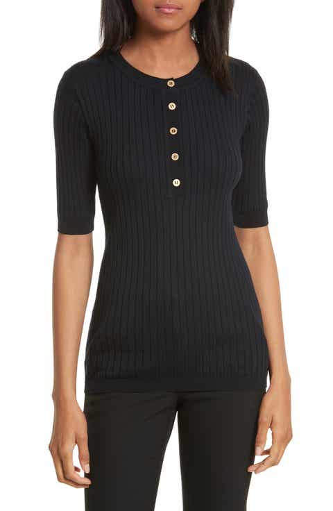 Tory Burch Ribbed Cotton   Cashmere Henley