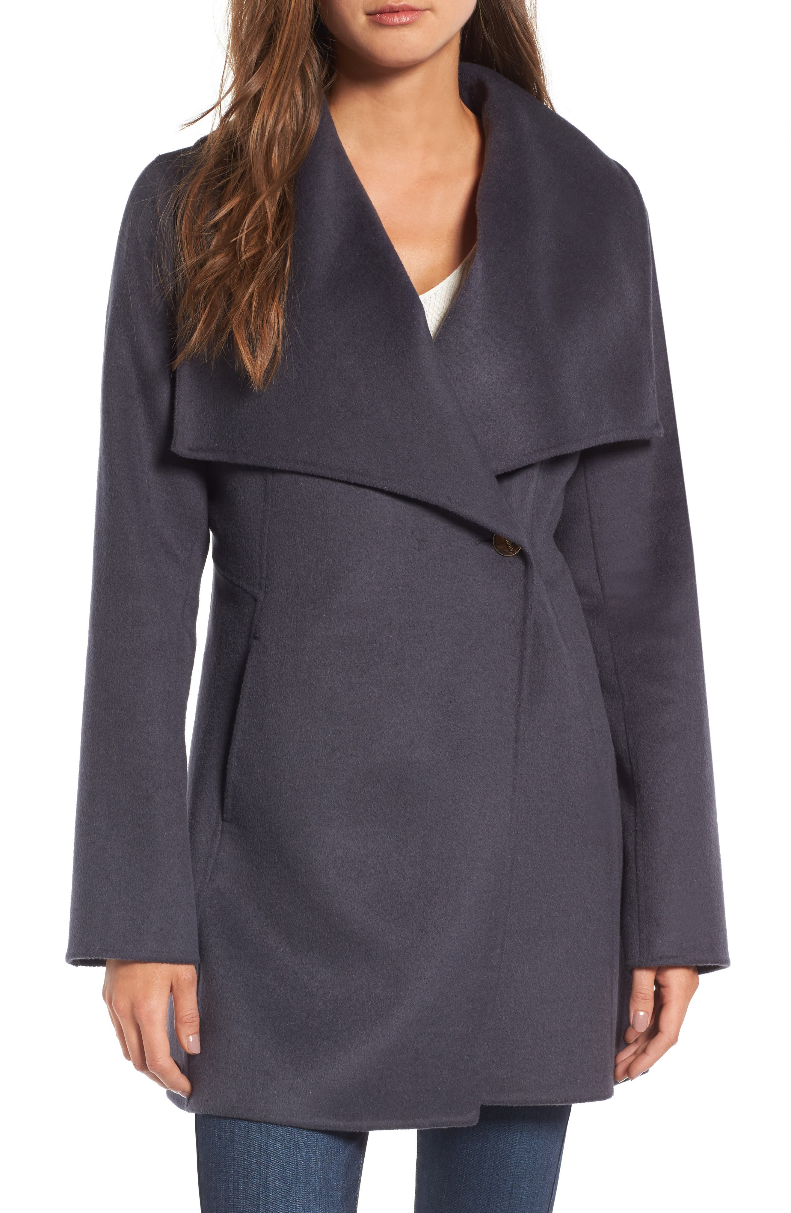 Laundry by Shelli Segal Double Face Drape Collar Coat