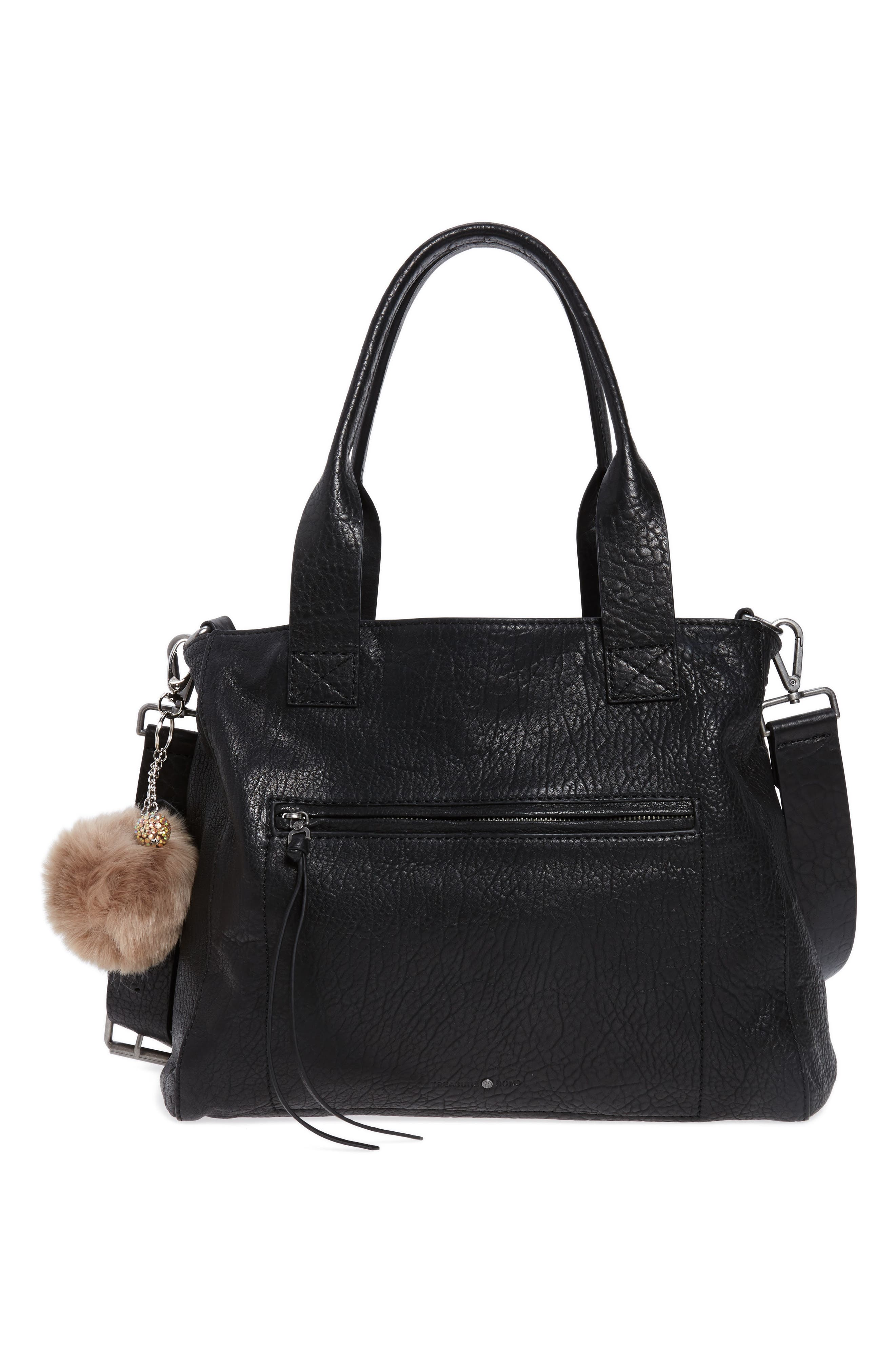 Topshop Faux Fur Pompom & Crystal Key Ring