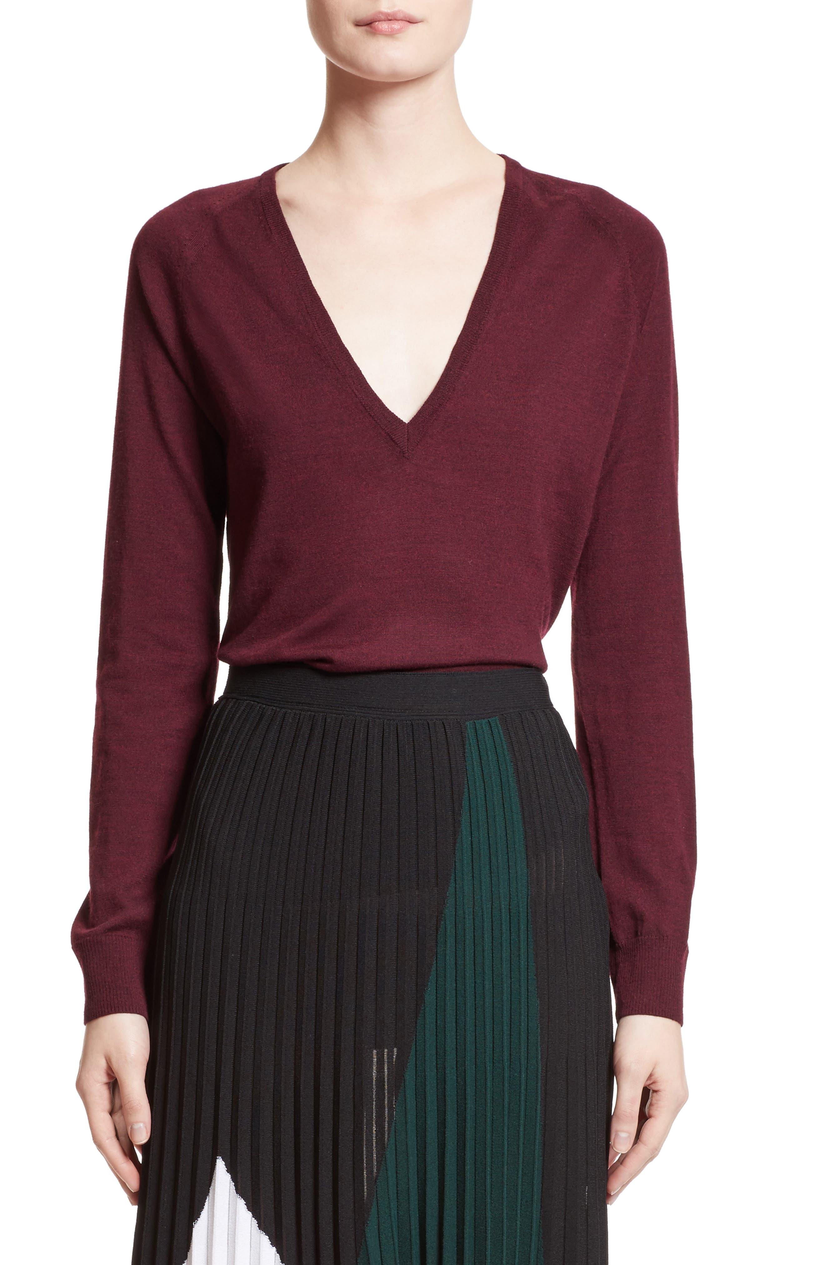Proenza Schouler Plunging V-Neck Merino Wool Sweater