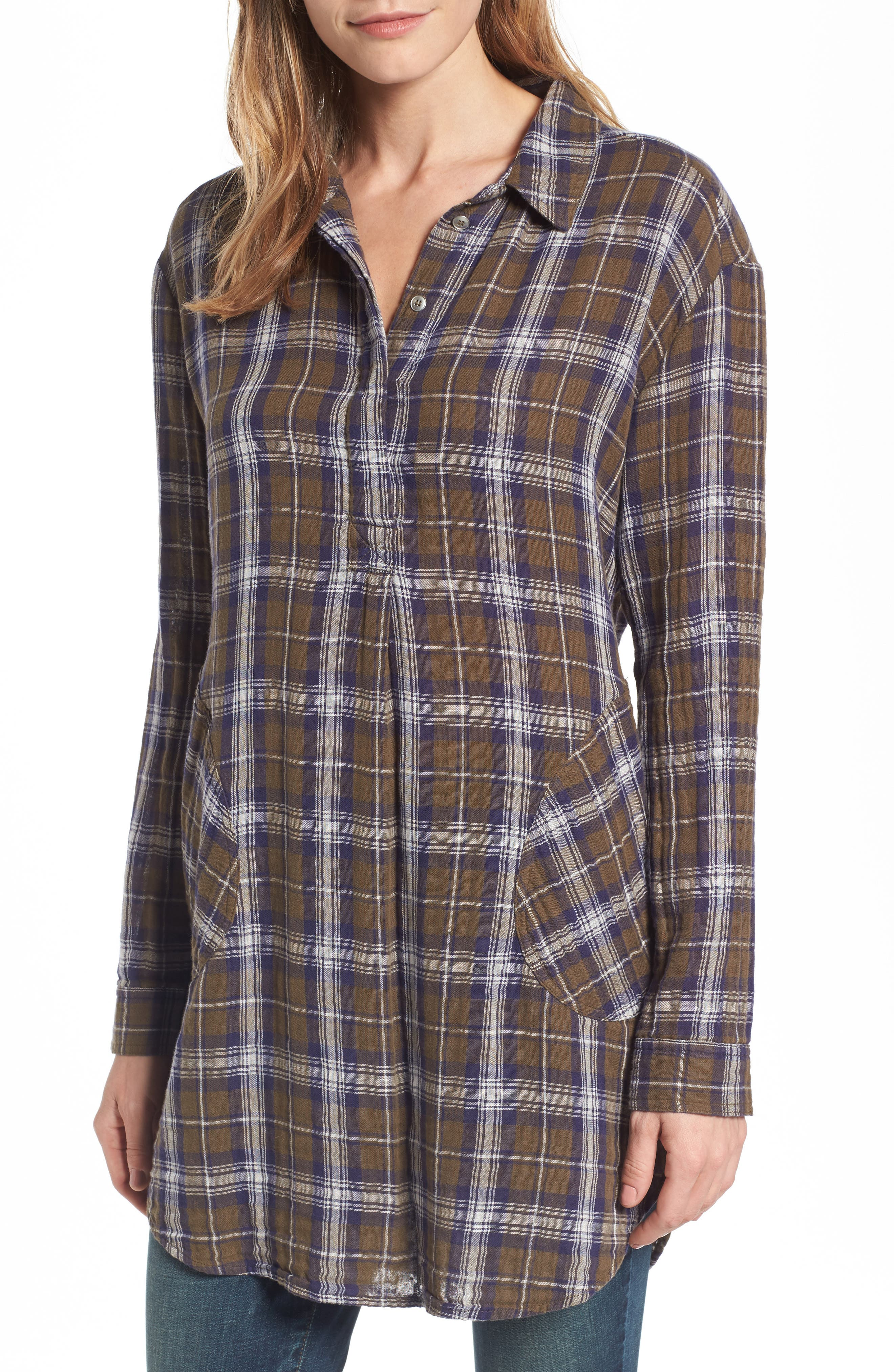Caslon® Plaid Tunic (Regular & Petite)