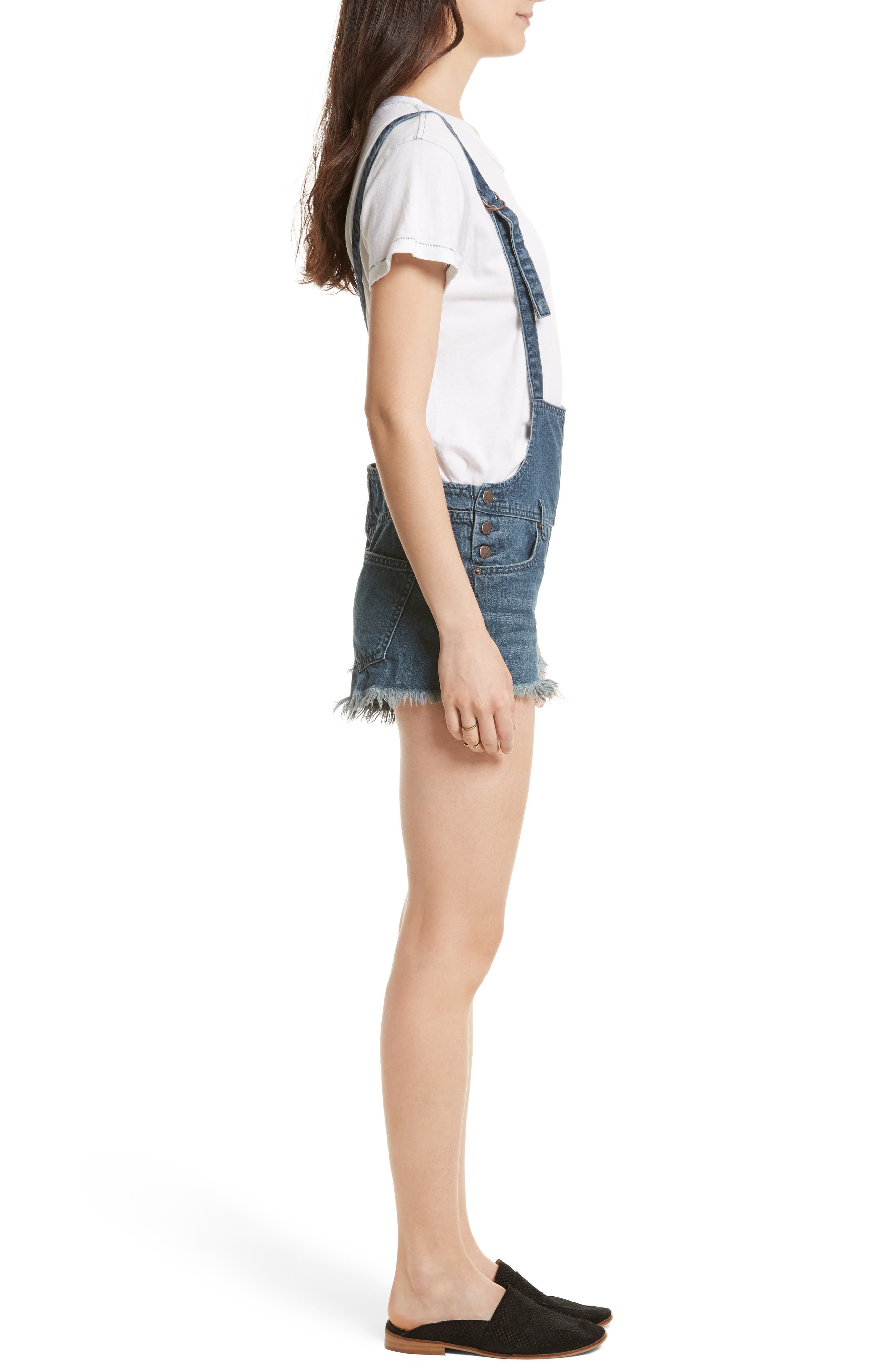 Alternate Image 3  - Free People Strappy Denim Short Overalls