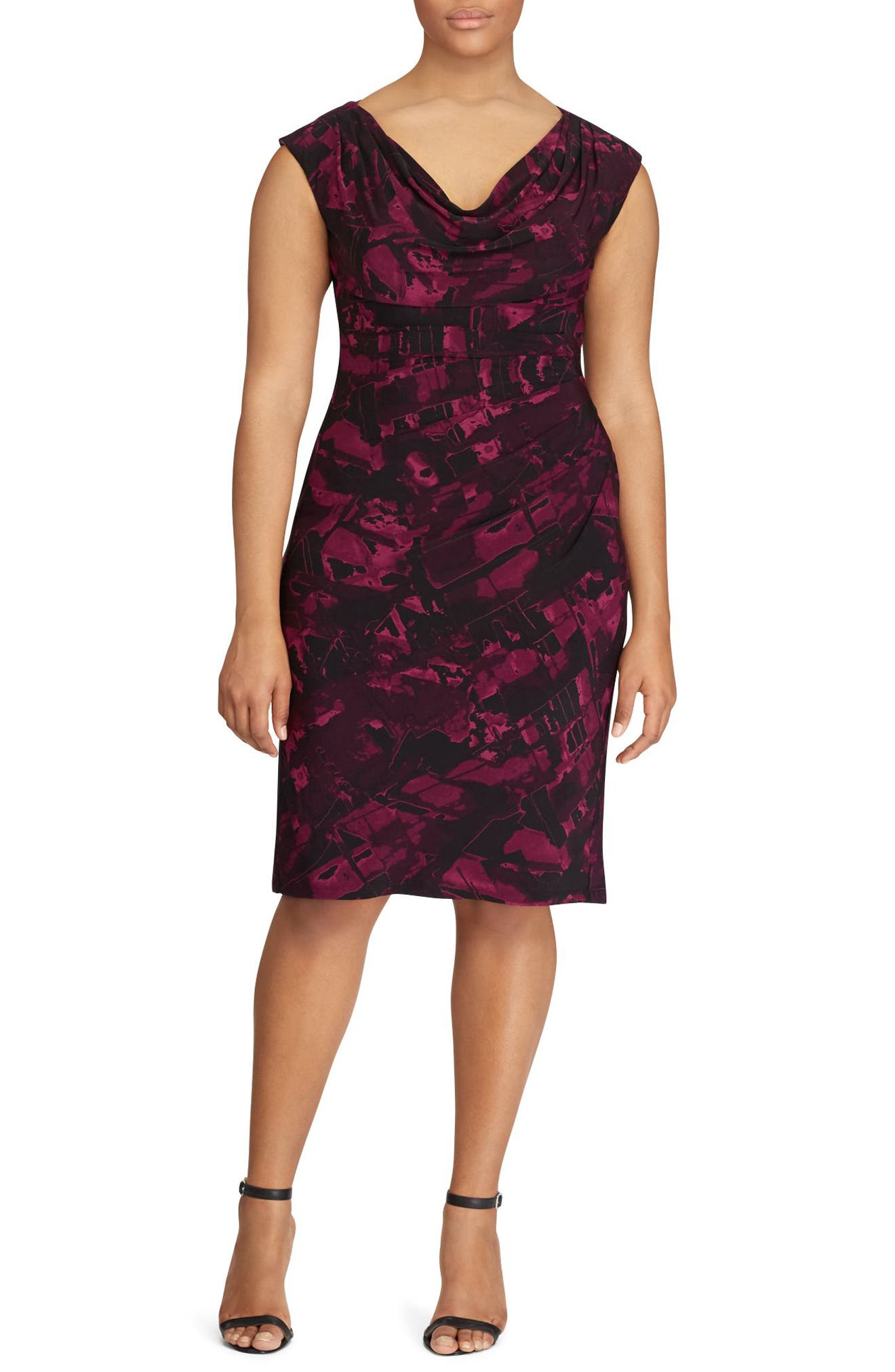 Laruen Ralph Lauren Abstract Print Sheath Dress (Plus Size)