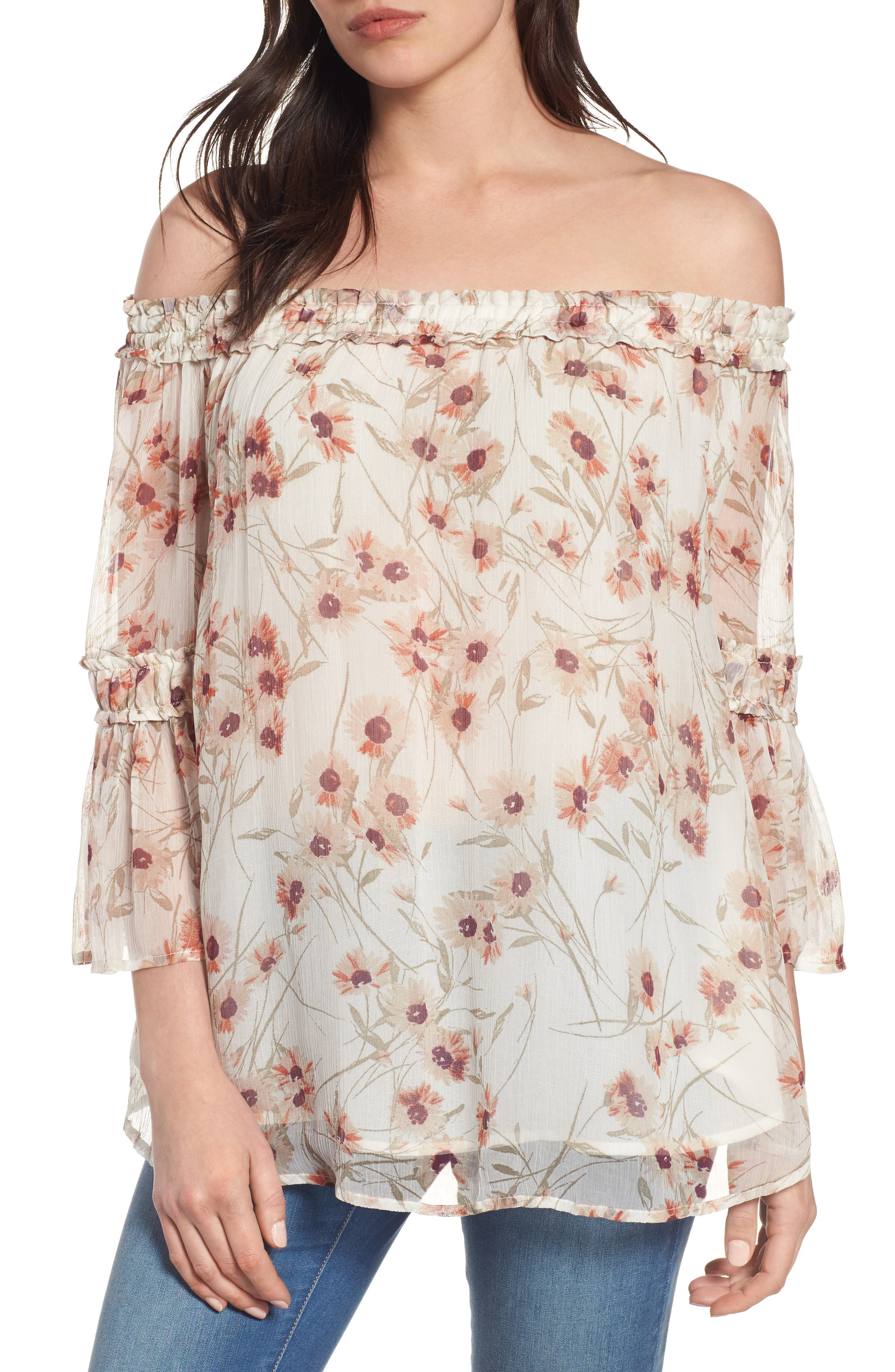 Lucky Brand Shirred Off the Shoulder Top