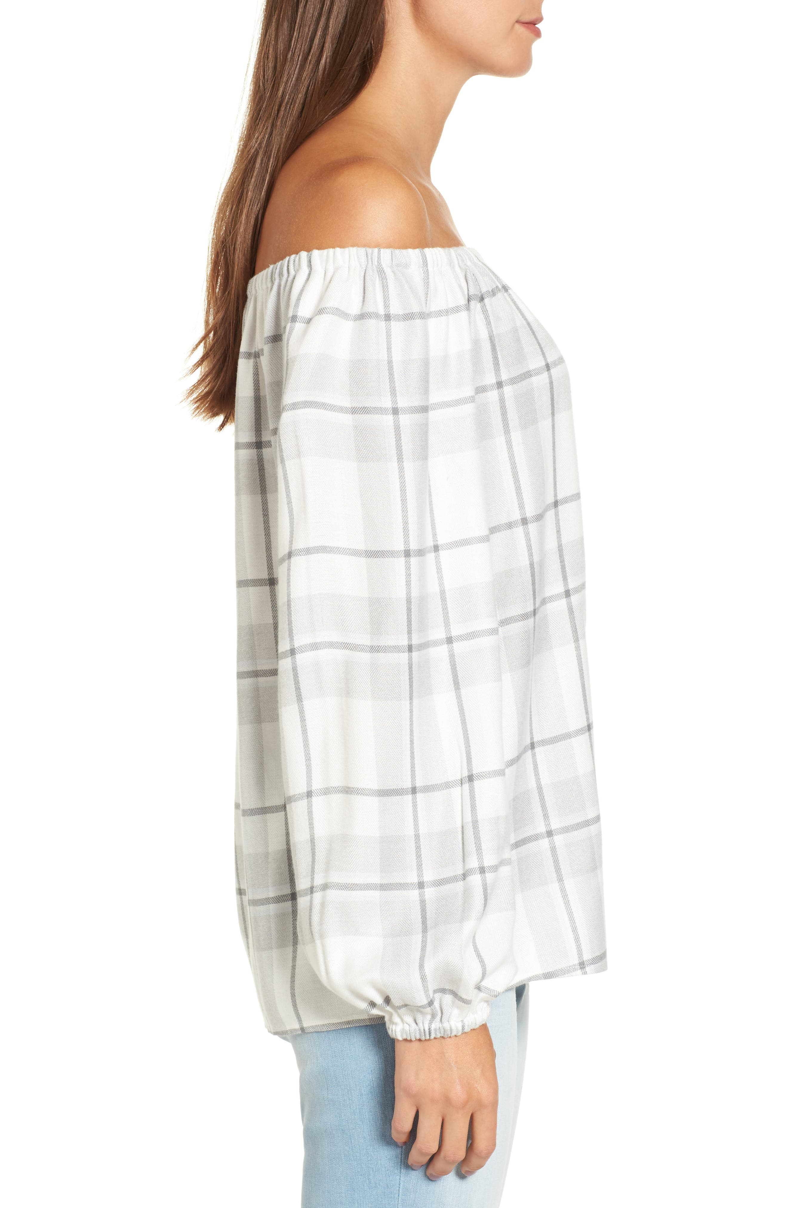 Alternate Image 3  - Two by Vince Camuto Off the Shoulder Plaid Blouse (Regular & Petite)