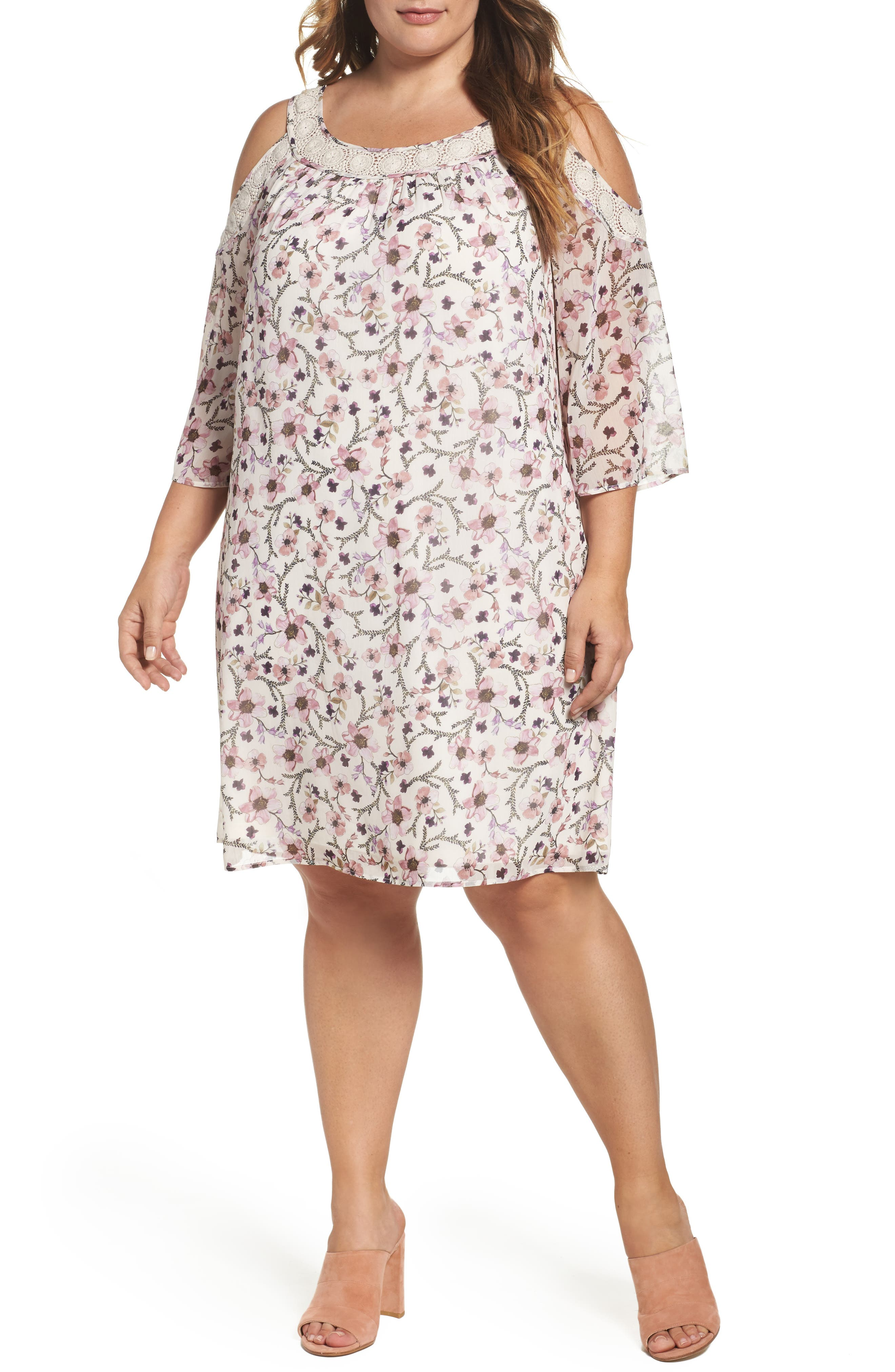 Daniel Rainn Lace Trim Cold Shoulder Shift Dress (Plus Size)