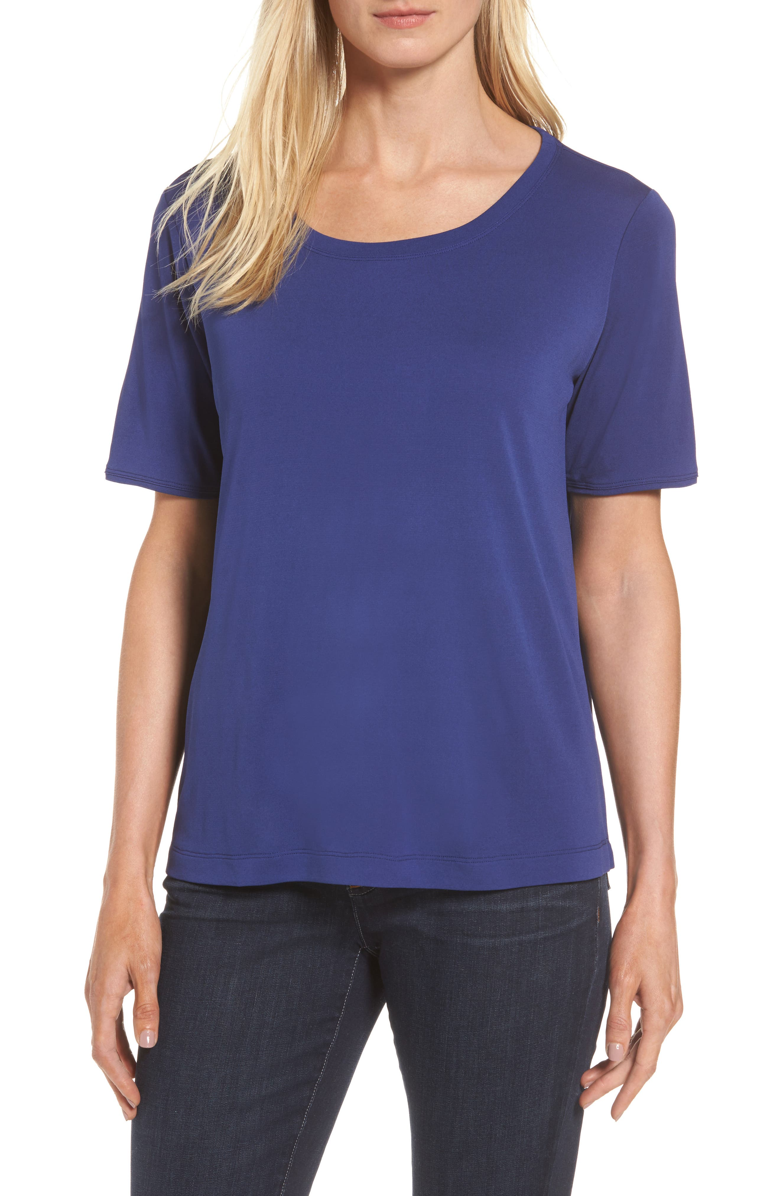 Eileen Fisher Silk Tee (Regular & Petite)