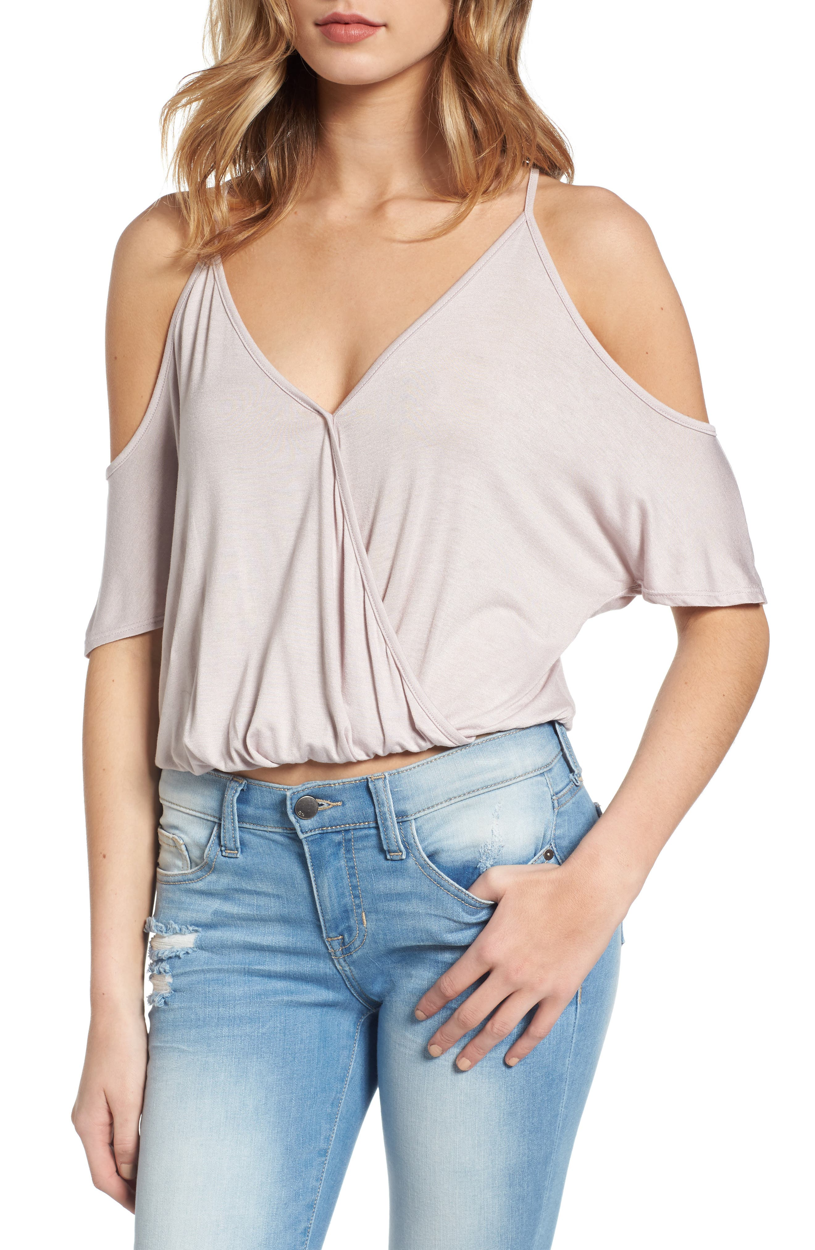 Lush Surplice Cold Shoulder Top