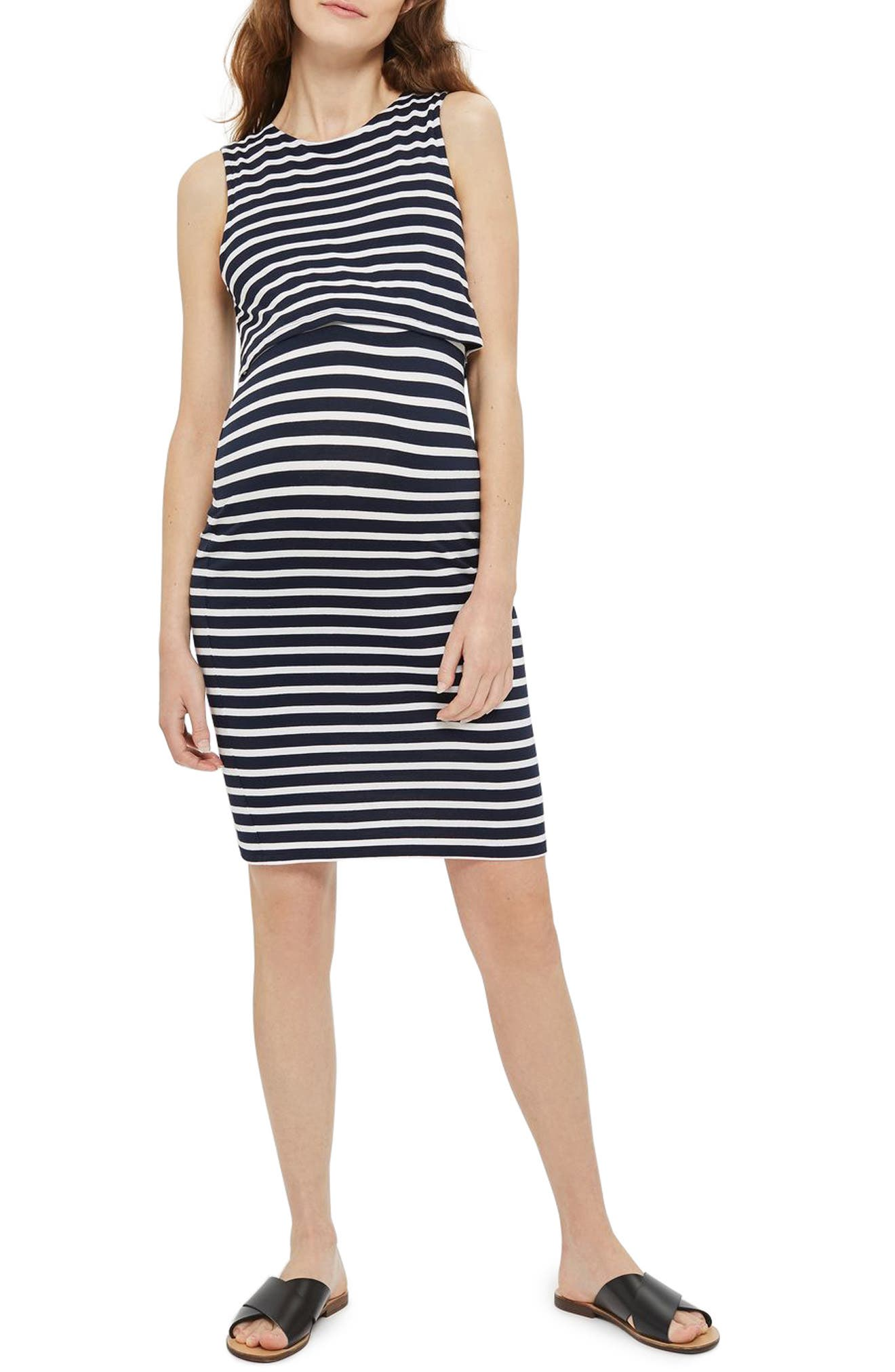 Topshop Stripe Maternity/Nursing Dress