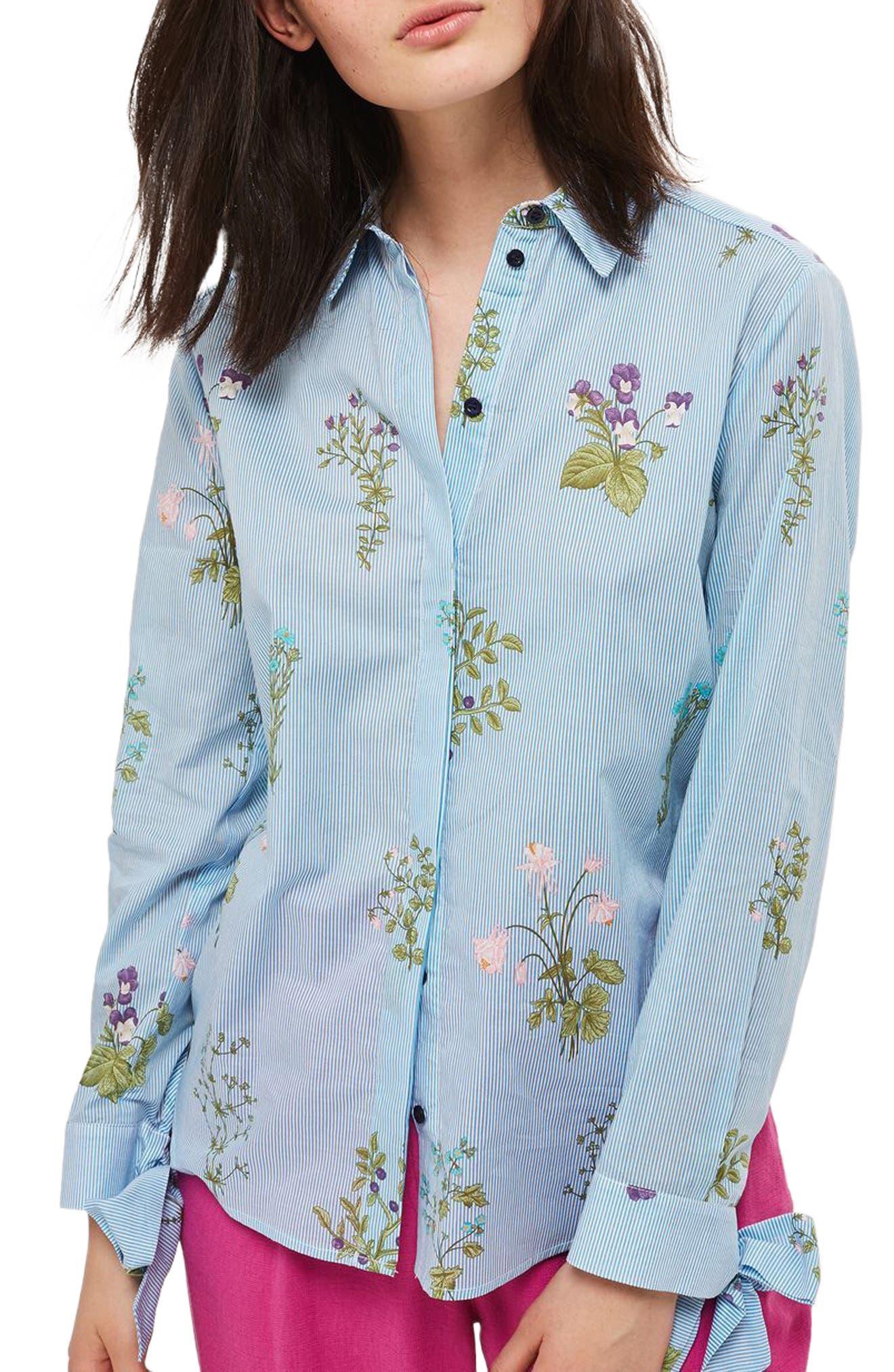 Topshop Floral Stripe Tie Cuff Shirt