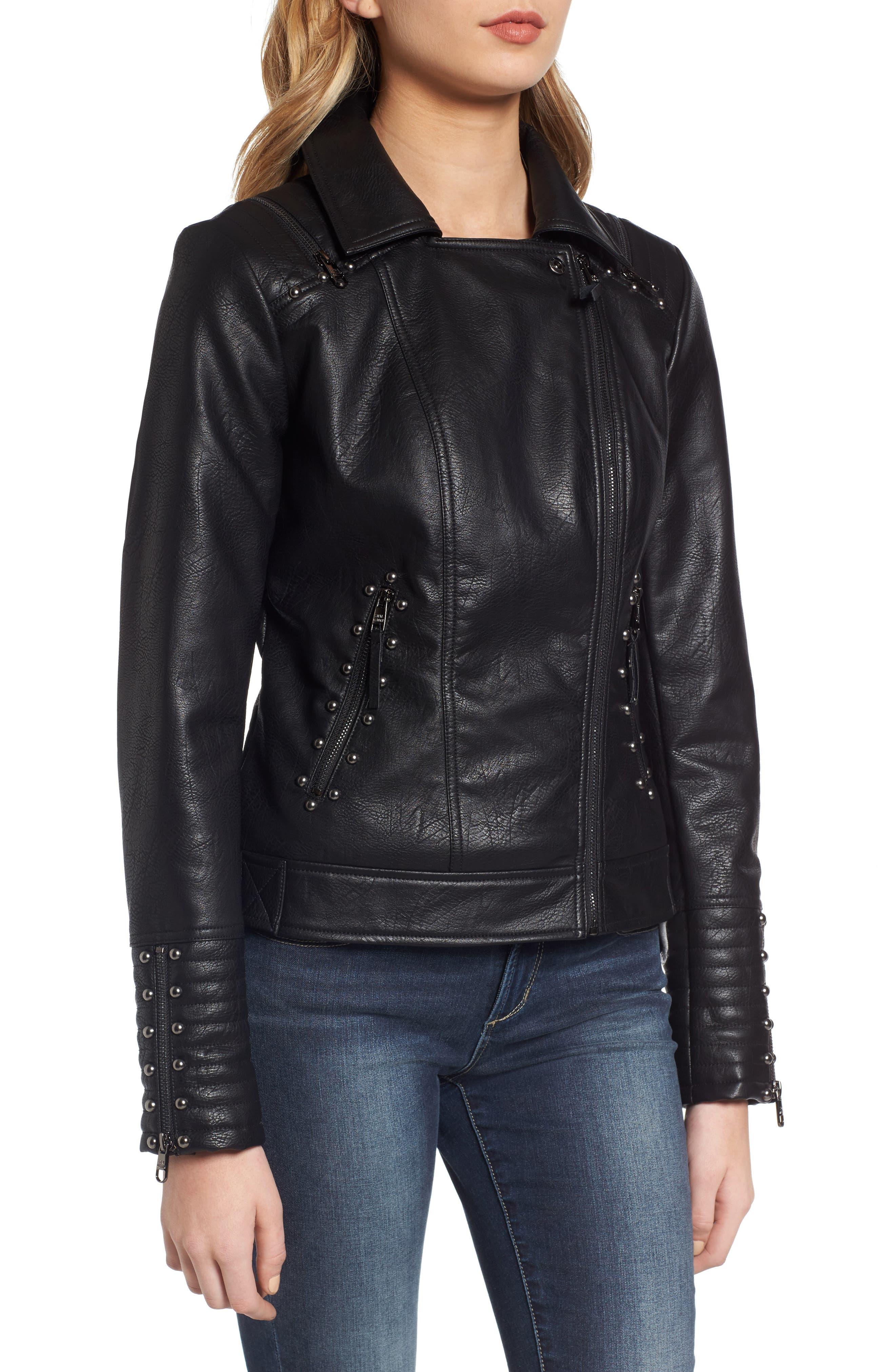 Alternate Image 3  - Steve Madden Studded Faux Leather Biker Jacket