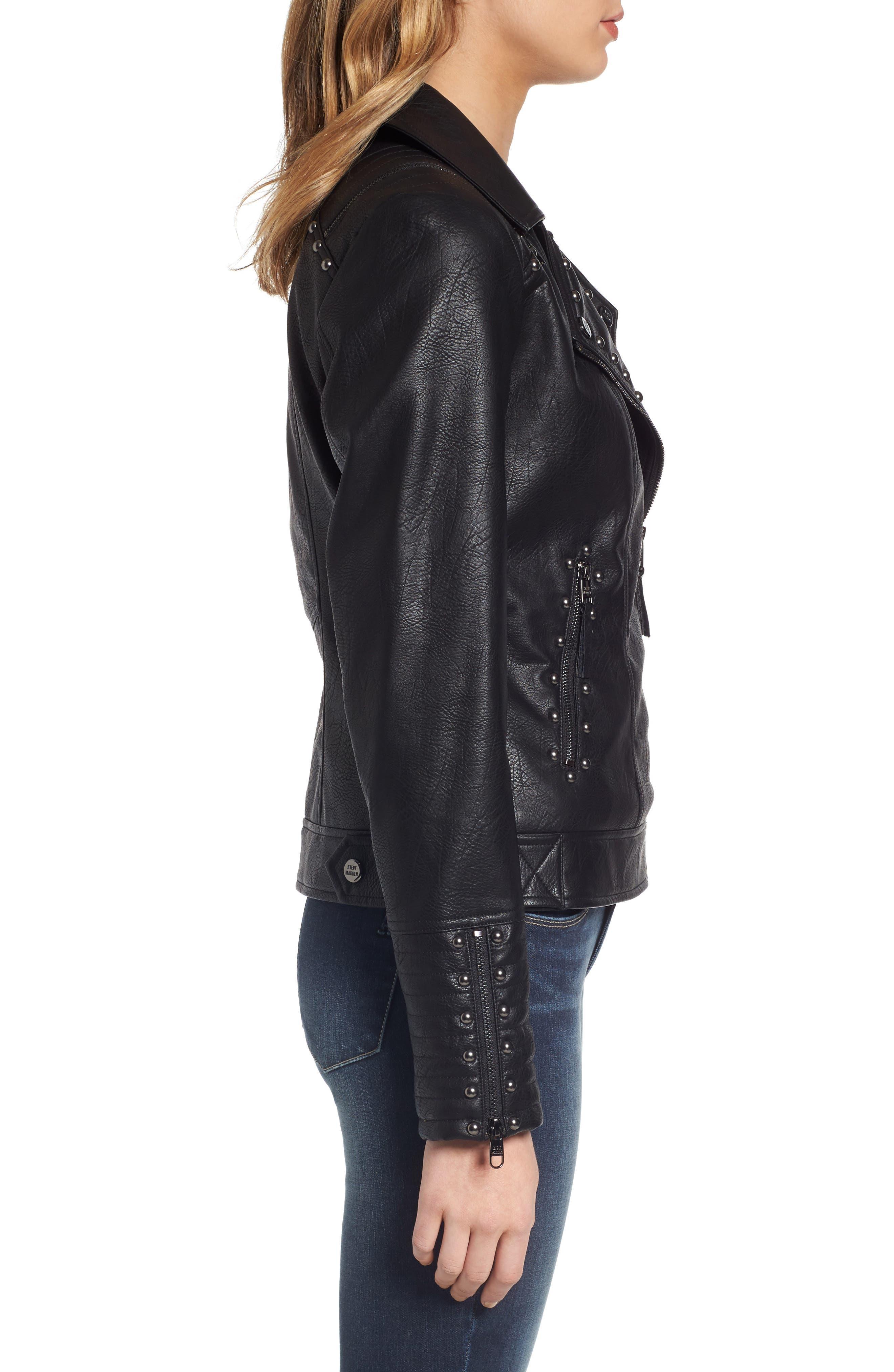 Alternate Image 4  - Steve Madden Studded Faux Leather Biker Jacket