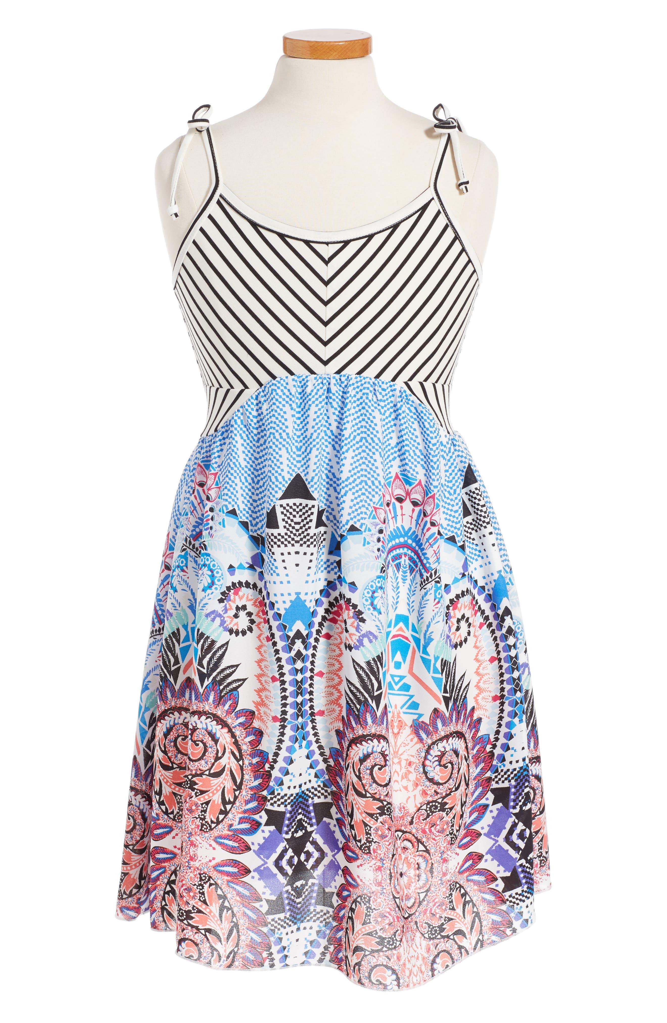 Truly Me Stripe & Paisley Print Dress (Big Girls)