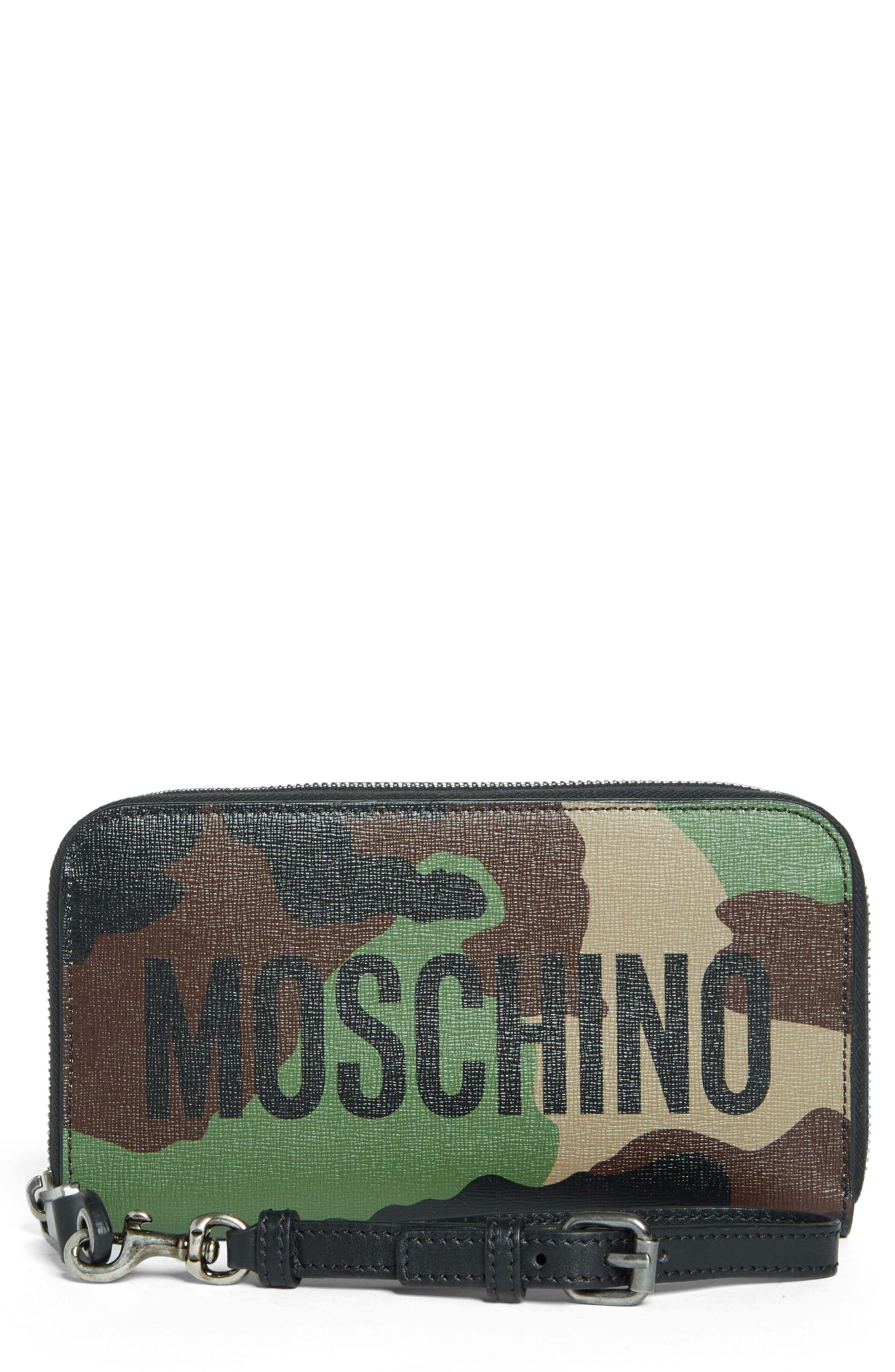 Moschino Zip Around Camo Wristlet