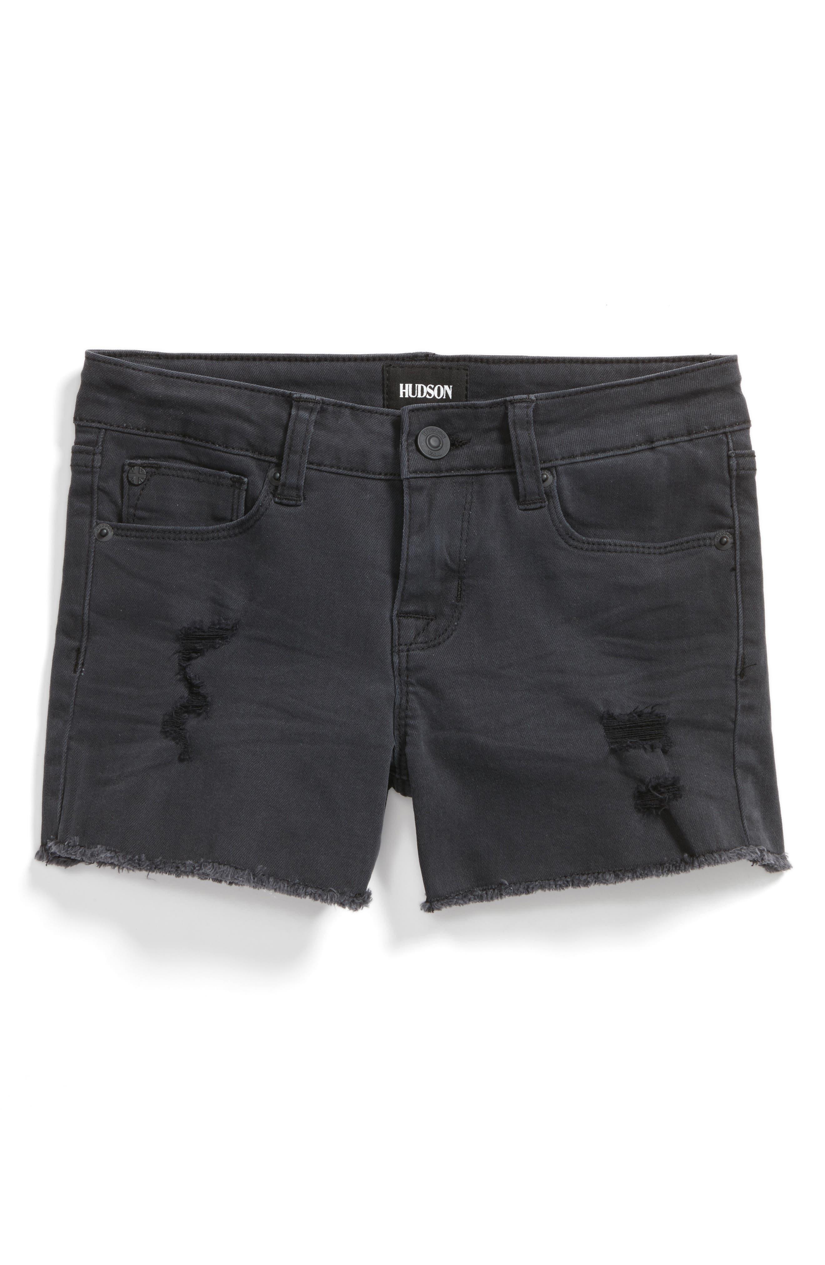 Hudson Kids Frayed Hem Stretch Denim Shorts (Big Girls)