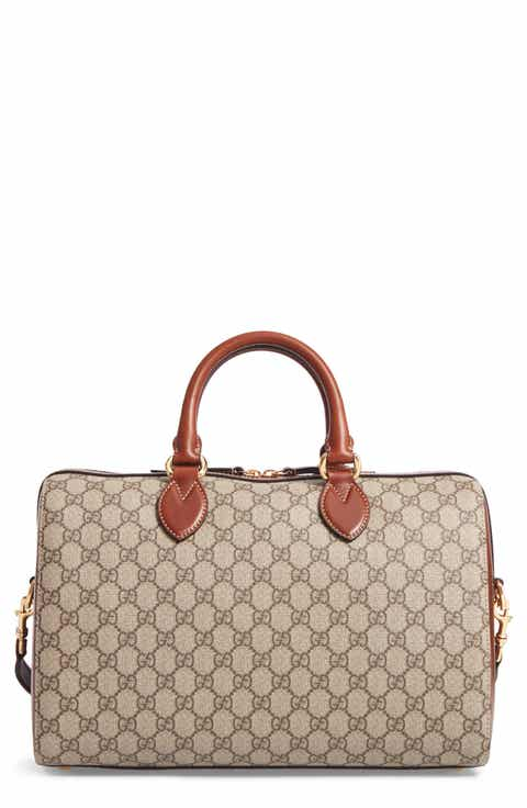 Gucci Large Top Handle GG Supreme Canvas   Leather Tote